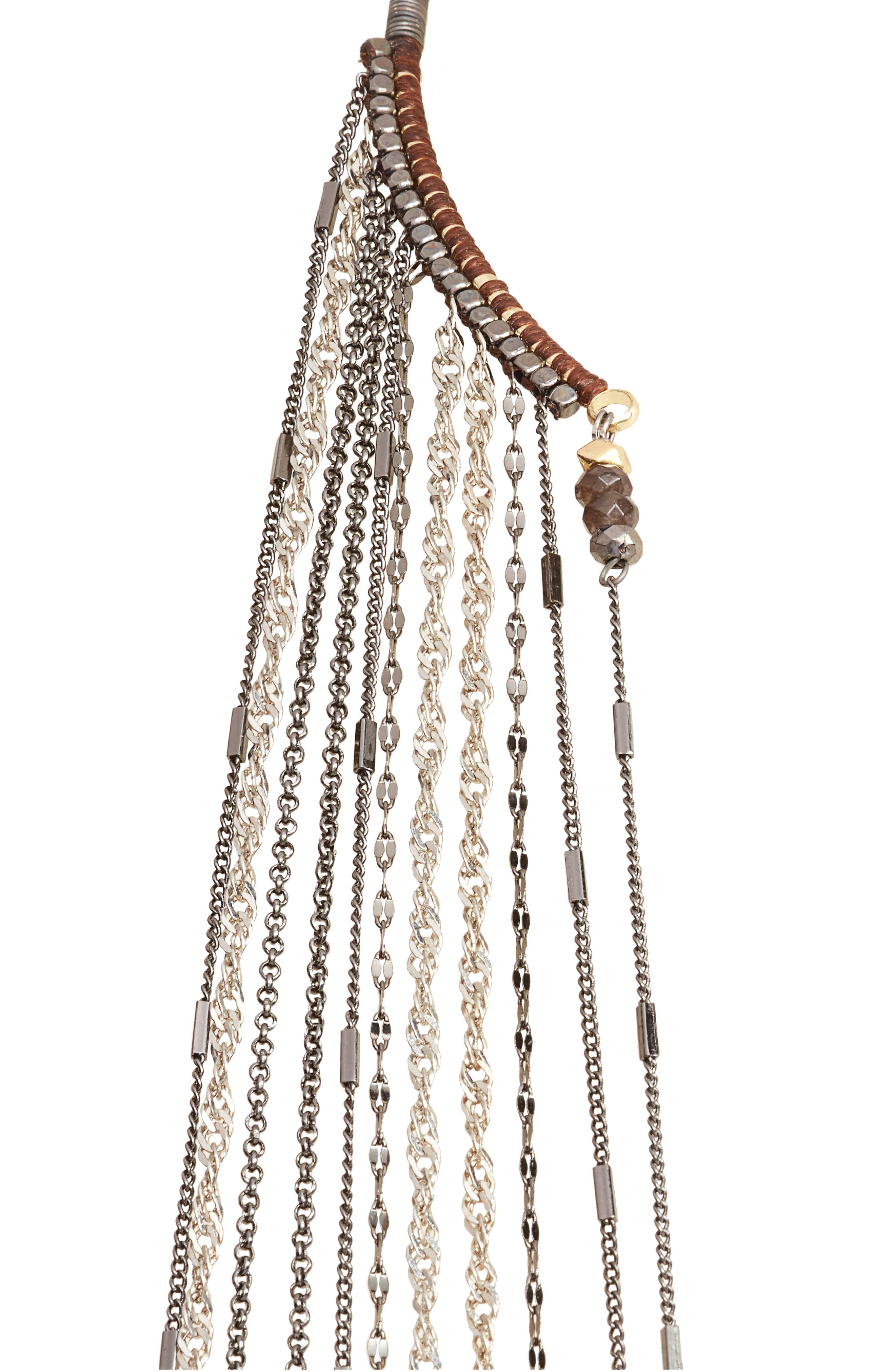 Chain Fringe Half Necklace,                         Main,                         color, Grey