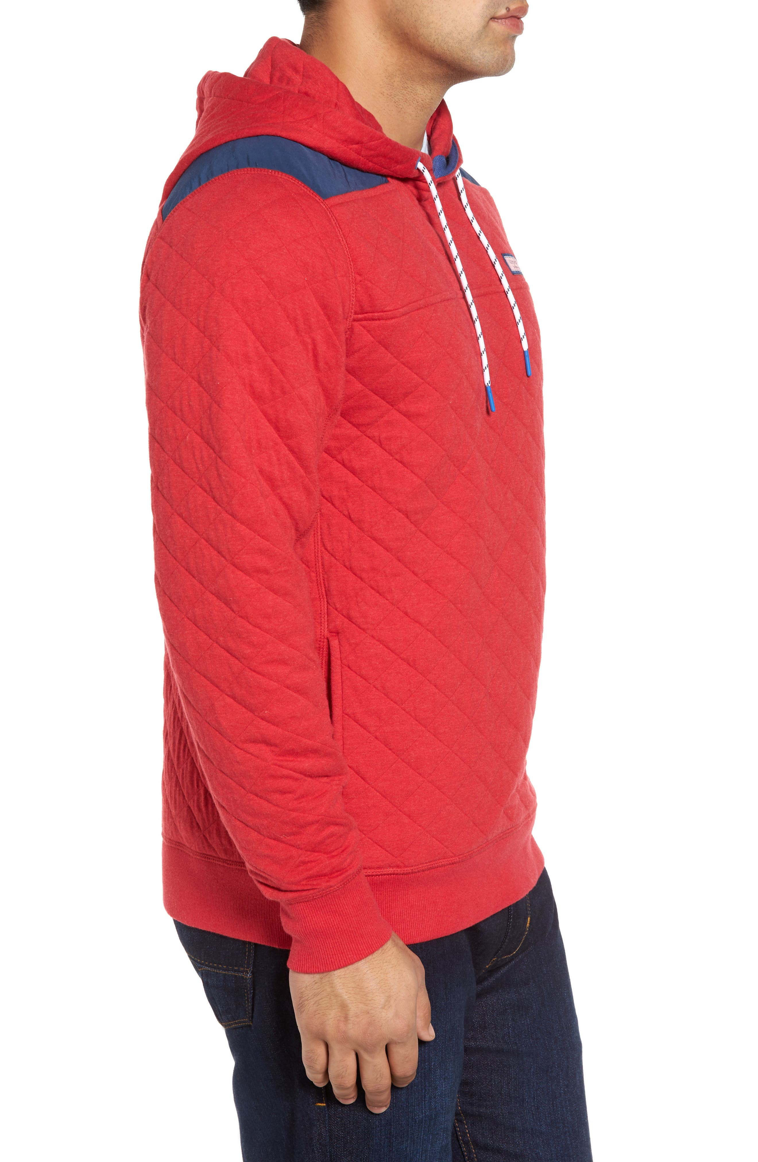 Shep Quilted Hoodie,                             Alternate thumbnail 3, color,                             Tomato Check