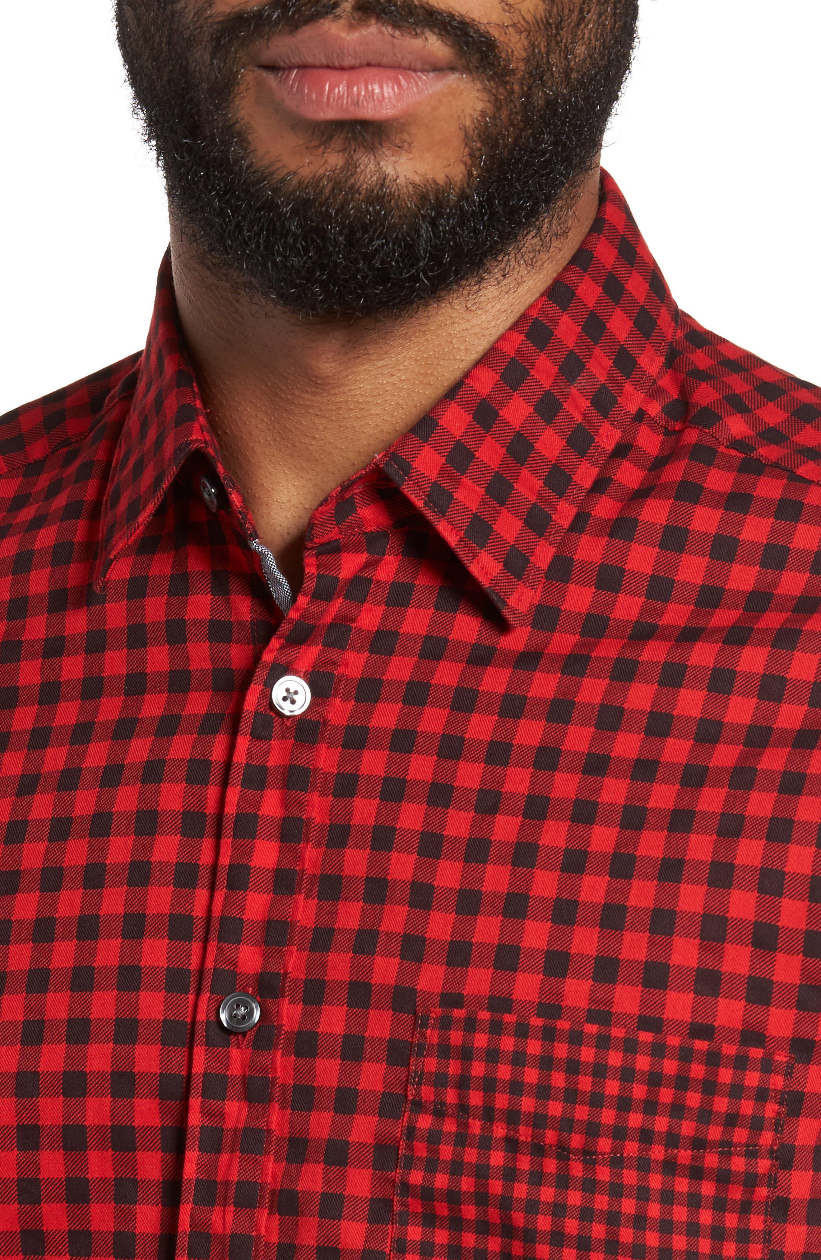 Lance Regular Fit Gingham Check Twill Sport Shirt,                             Alternate thumbnail 4, color,                             Red