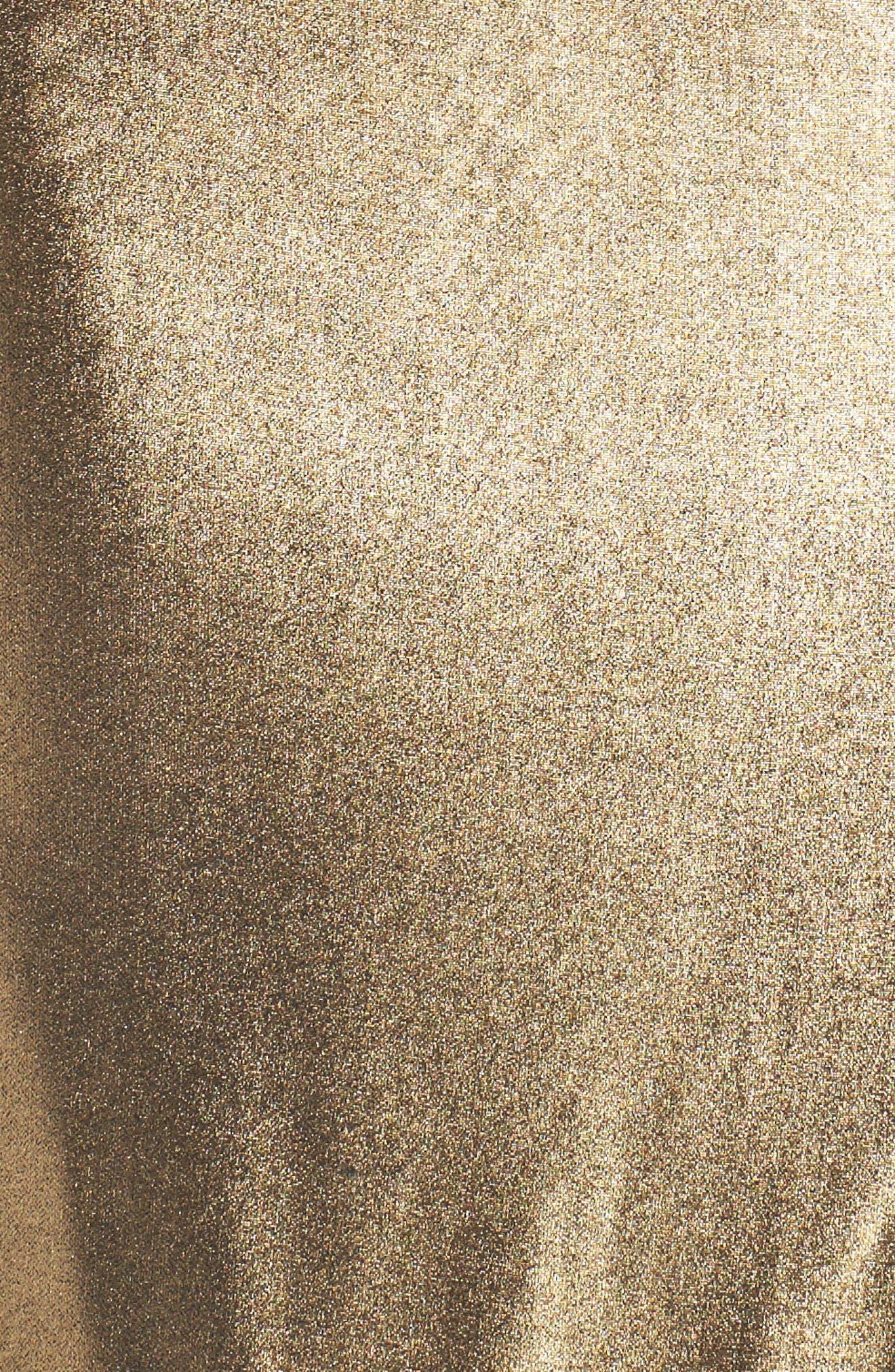 Aurel Metallic Dress,                             Alternate thumbnail 5, color,                             Golden