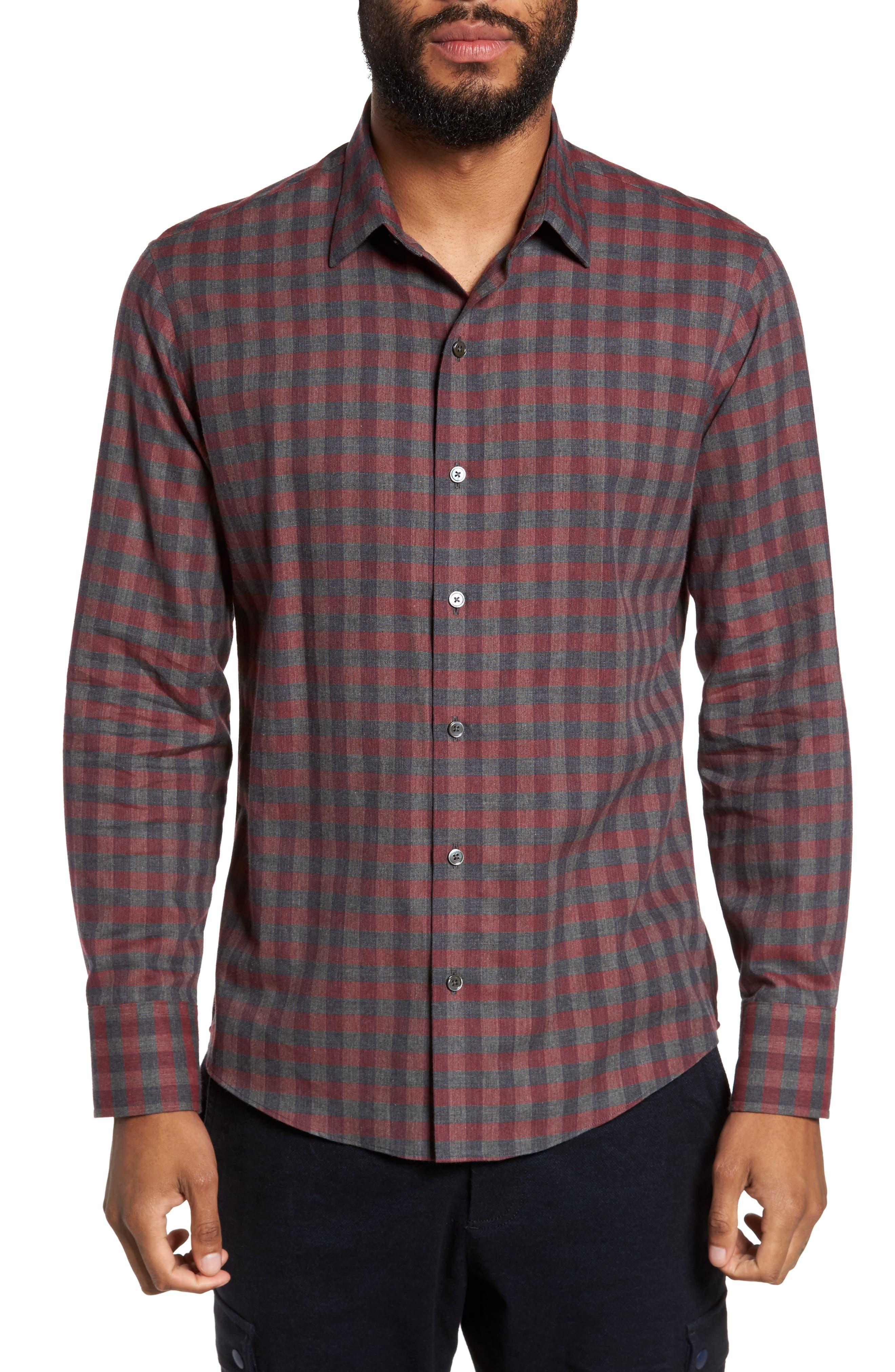 Lieberman Check Sport Shirt,                         Main,                         color, Burgundy
