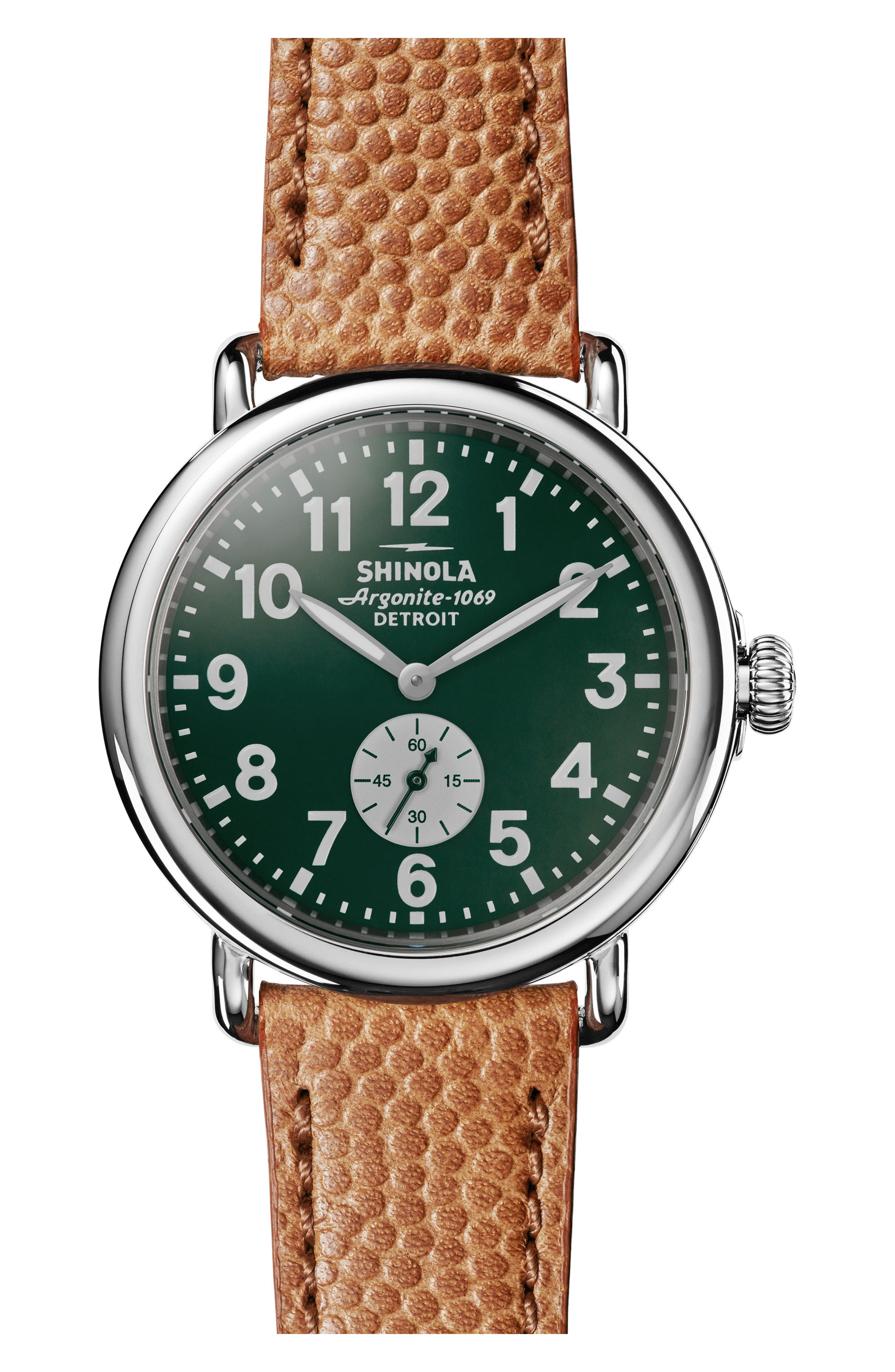 'The Runwell' Leather Strap Watch, 41mm,                         Main,                         color, Brown/ Green/ Silver
