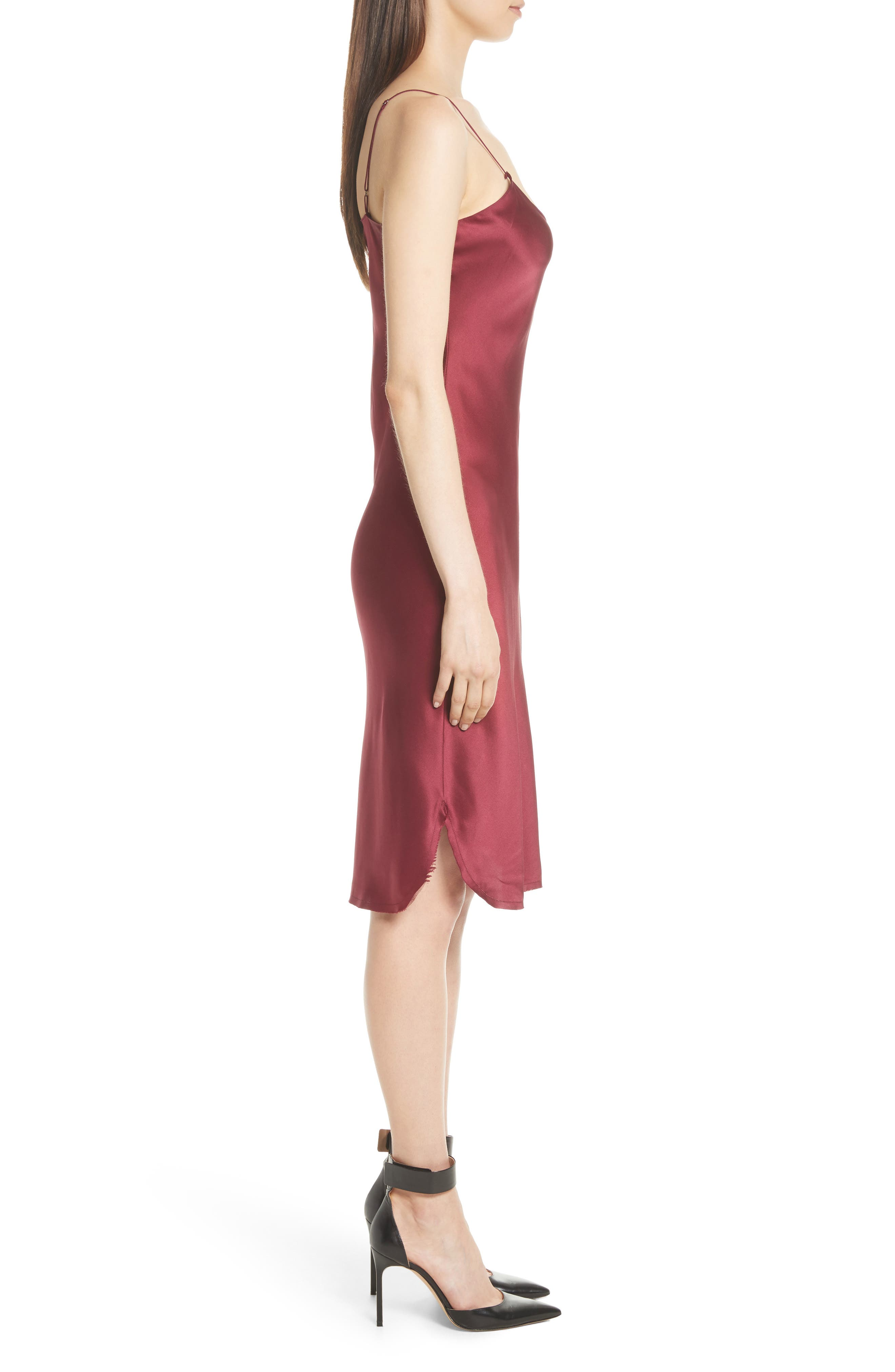 Silk Slipdress,                             Alternate thumbnail 3, color,                             Burgundy