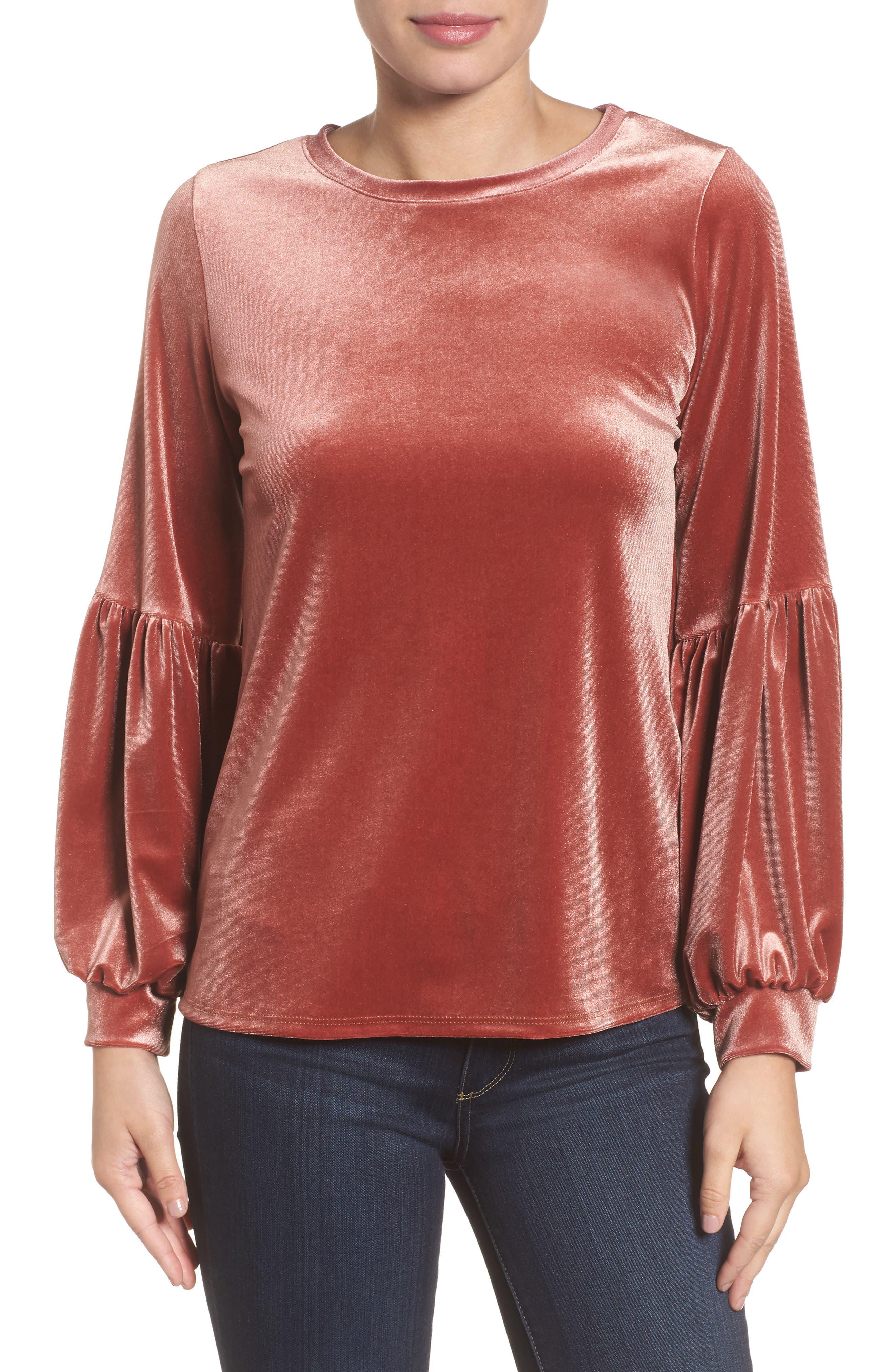 Halogen® Blouson Sleeve Stretch Velvet Top