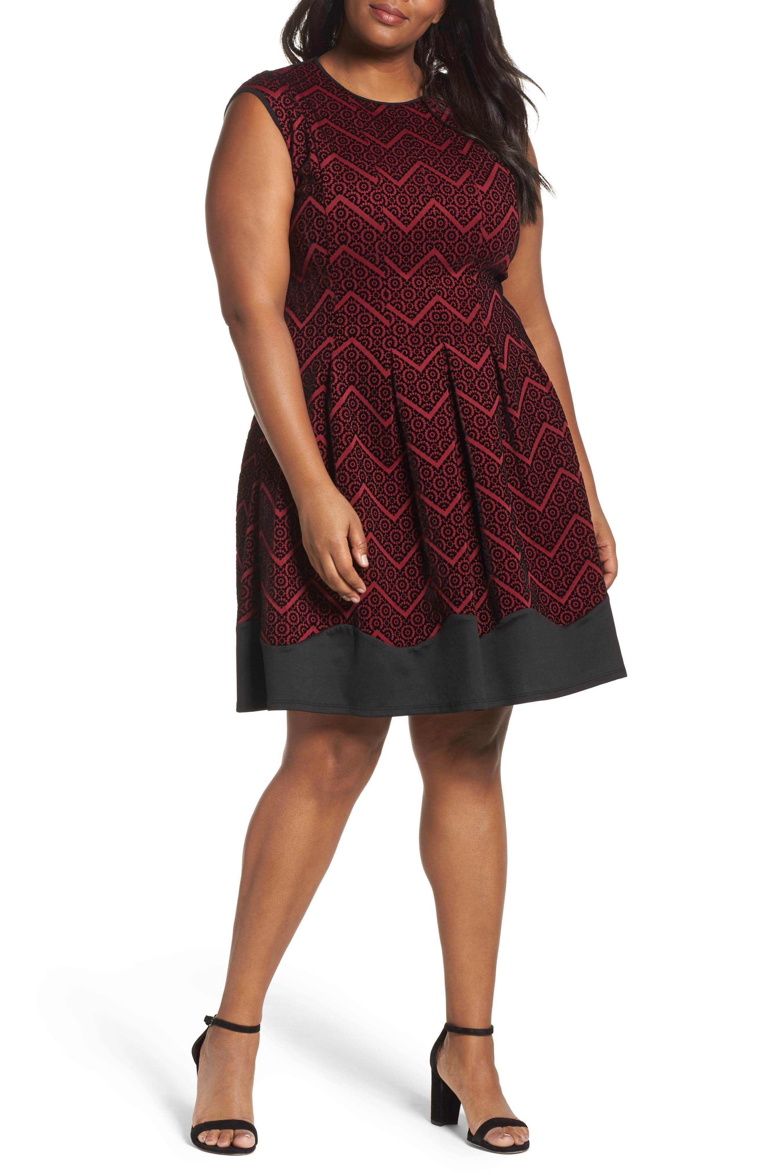 Flocked Fit & Flare Dress,                         Main,                         color, Wine/ Black
