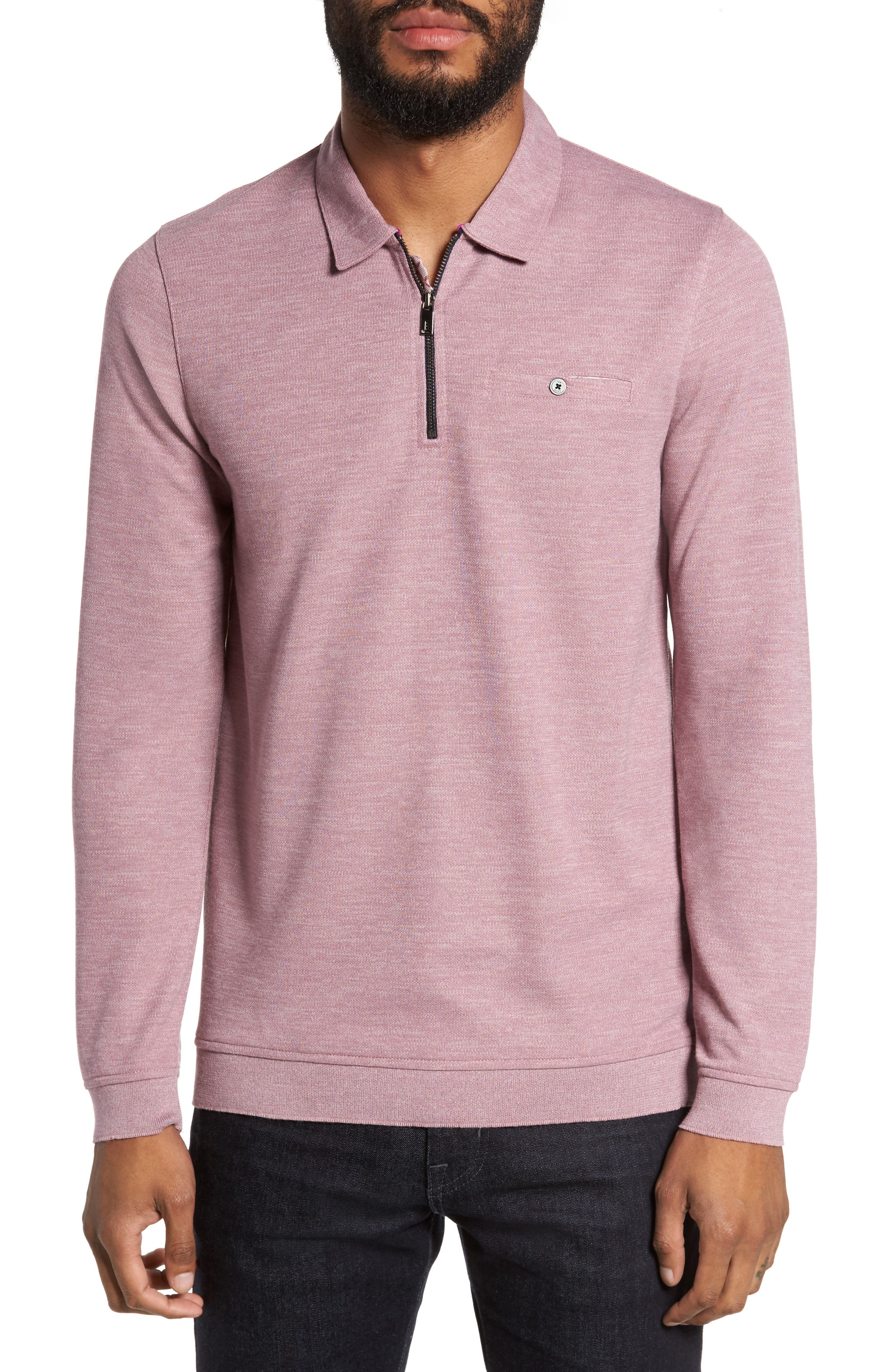 Modern Slim Fit Long Sleeve Jersey Polo,                         Main,                         color, Pink