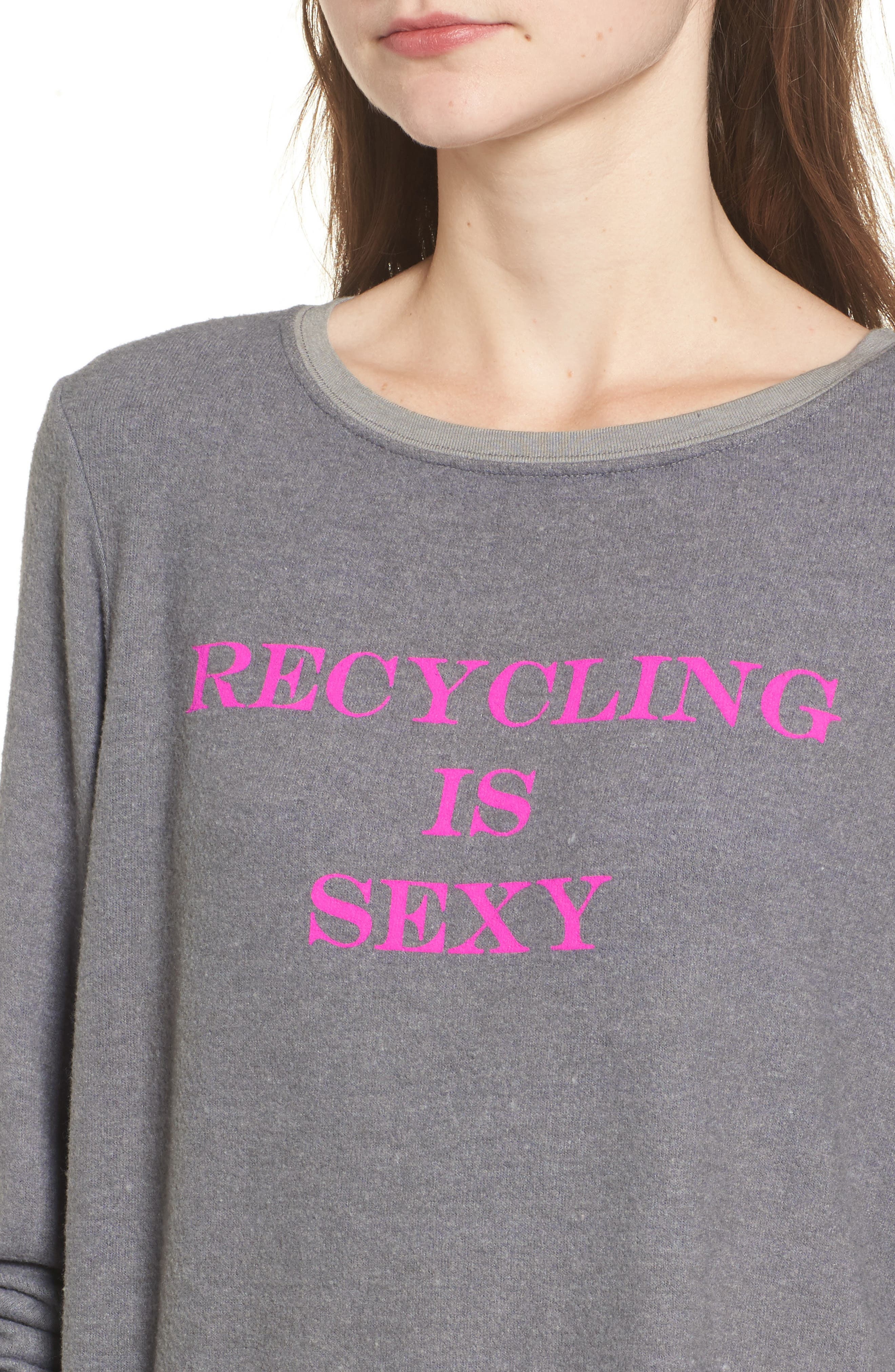 Recycling is Sexy Sweatshirt,                             Alternate thumbnail 4, color,                             Vintage Grey