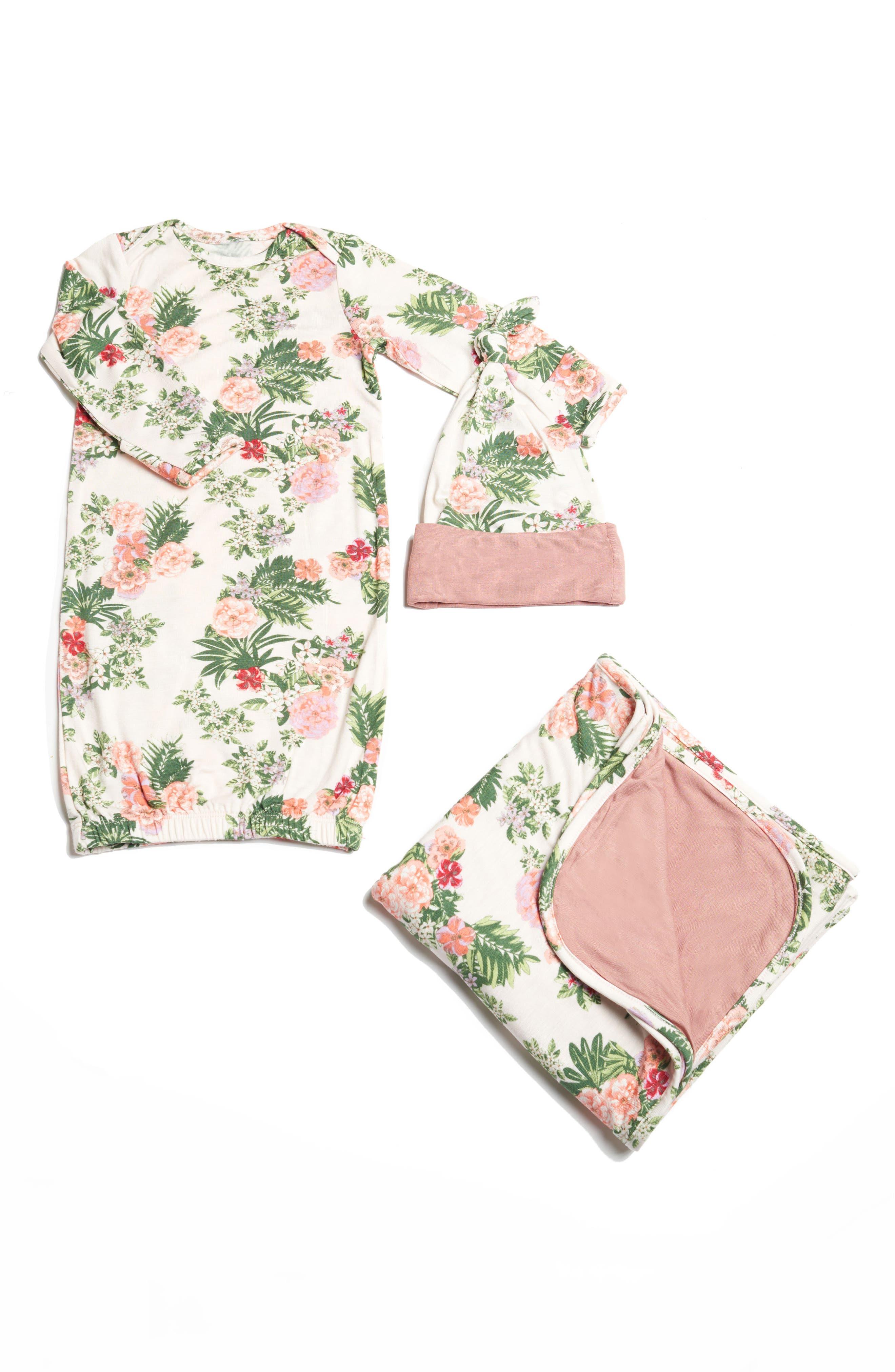 Gown, Hat & Blanket Set,                         Main,                         color, Beige Floral