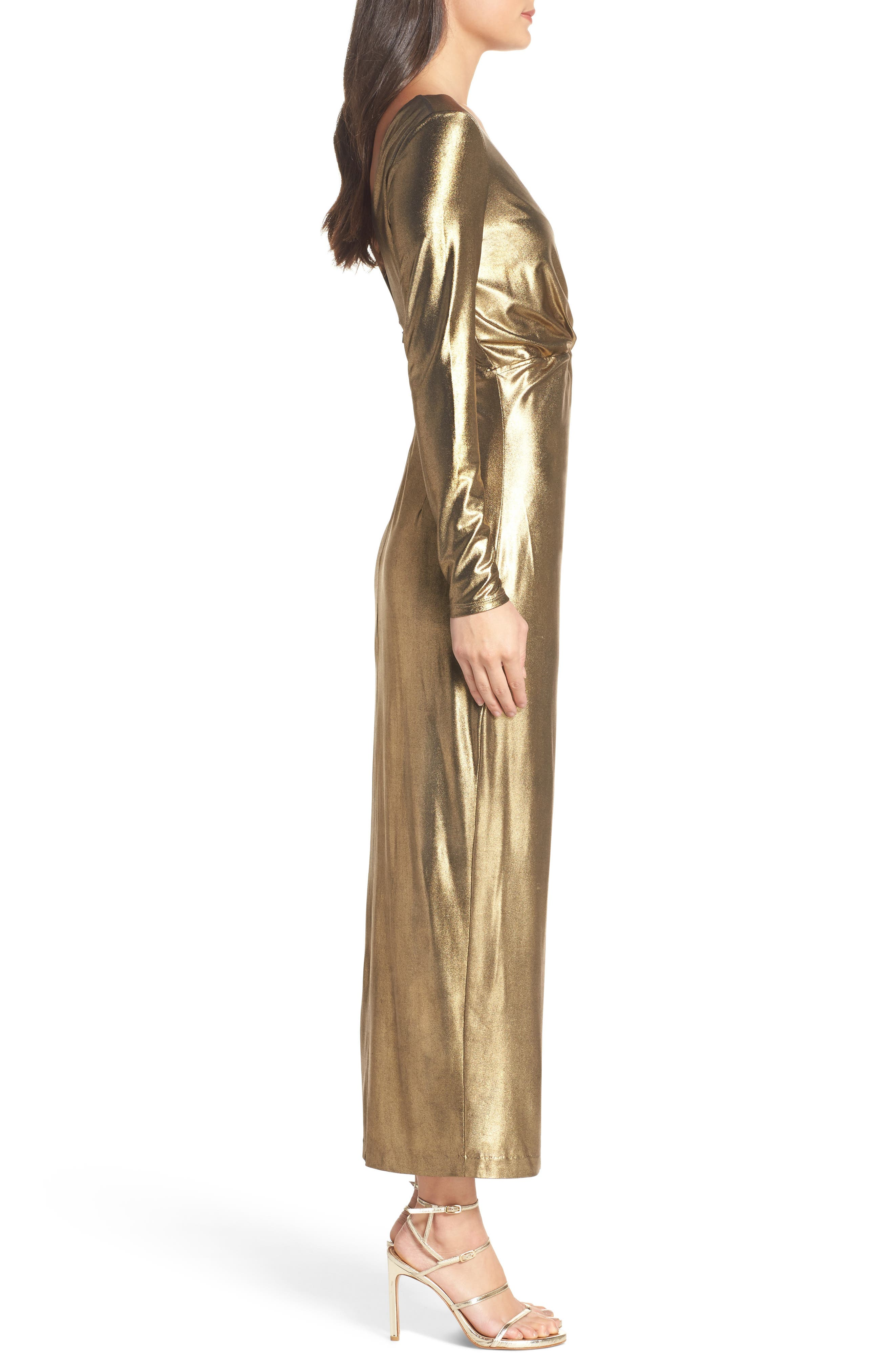 Aurel Metallic Dress,                             Alternate thumbnail 3, color,                             Golden