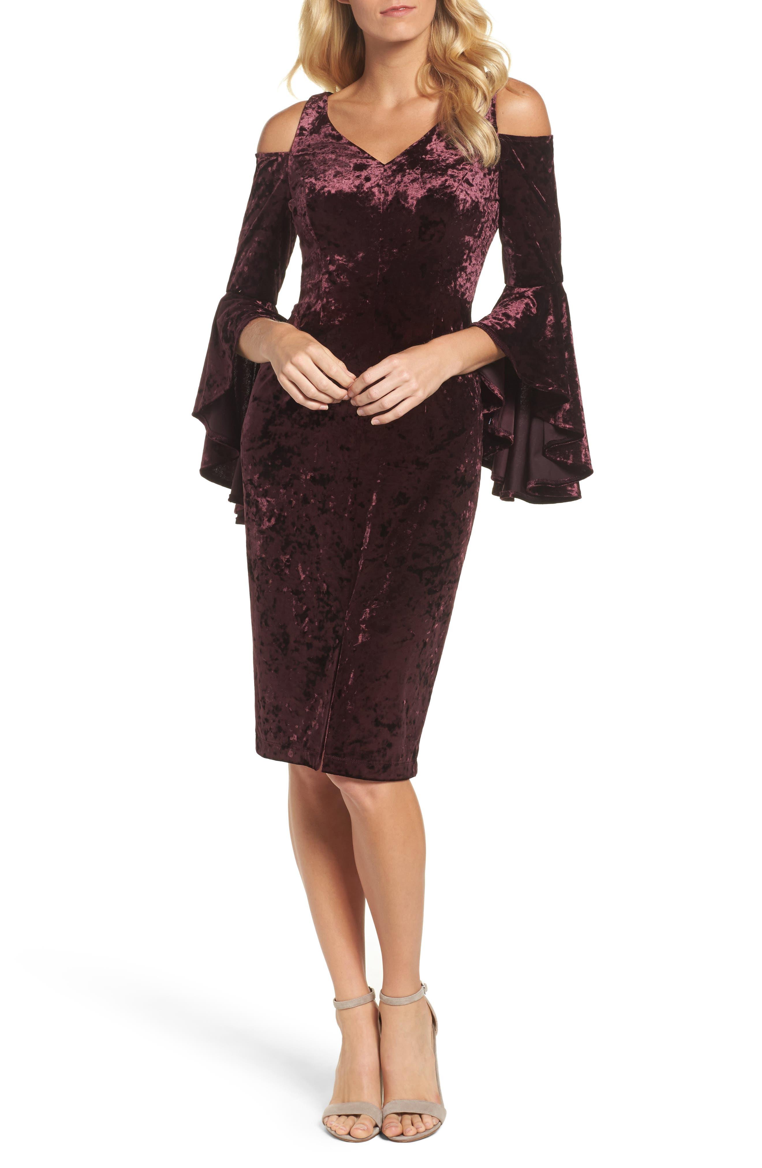 Maggy London Cold Shoulder Velvet Dress