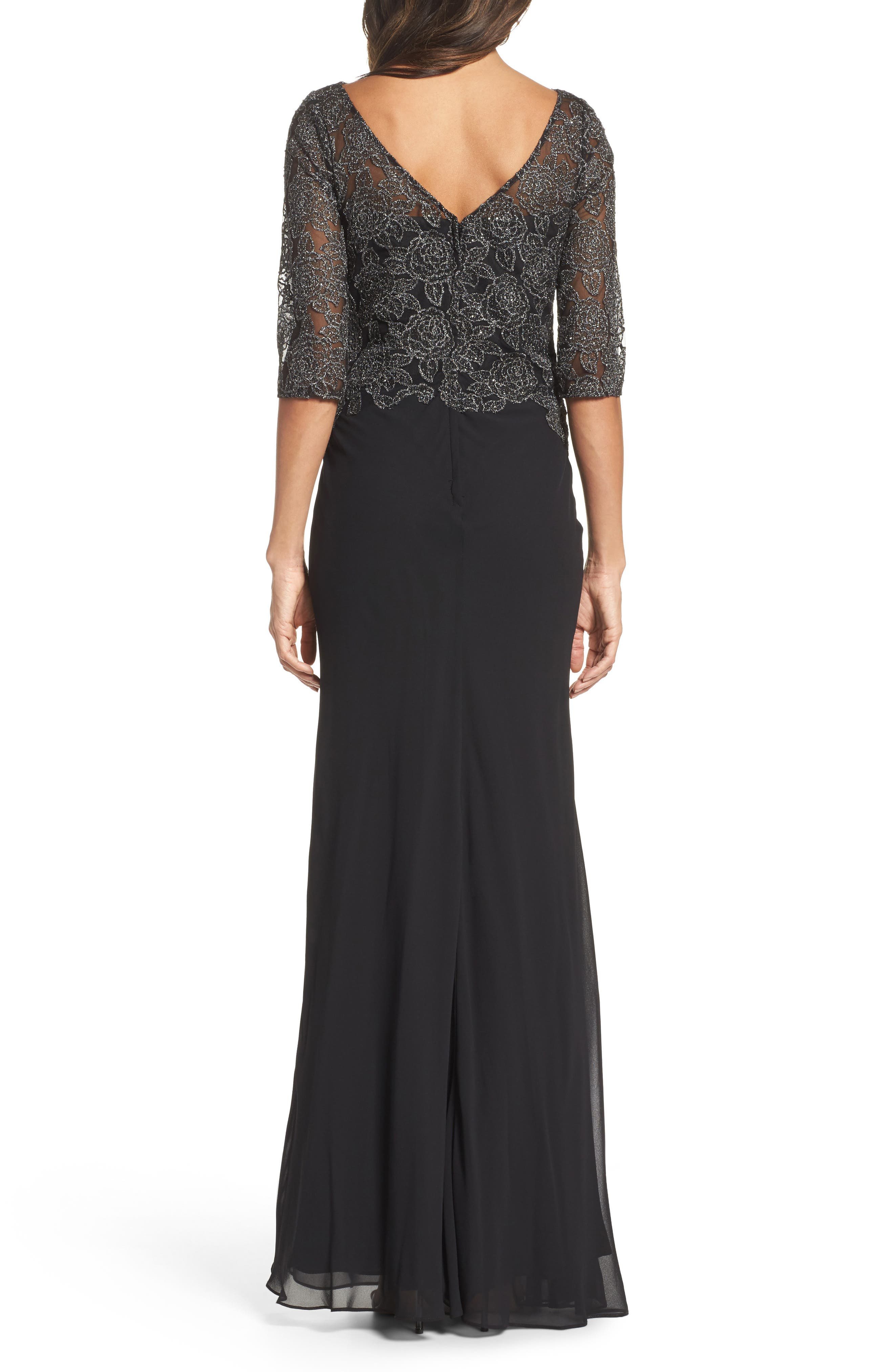 Metallic Embroidered A-Line Gown,                             Alternate thumbnail 2, color,                             Black