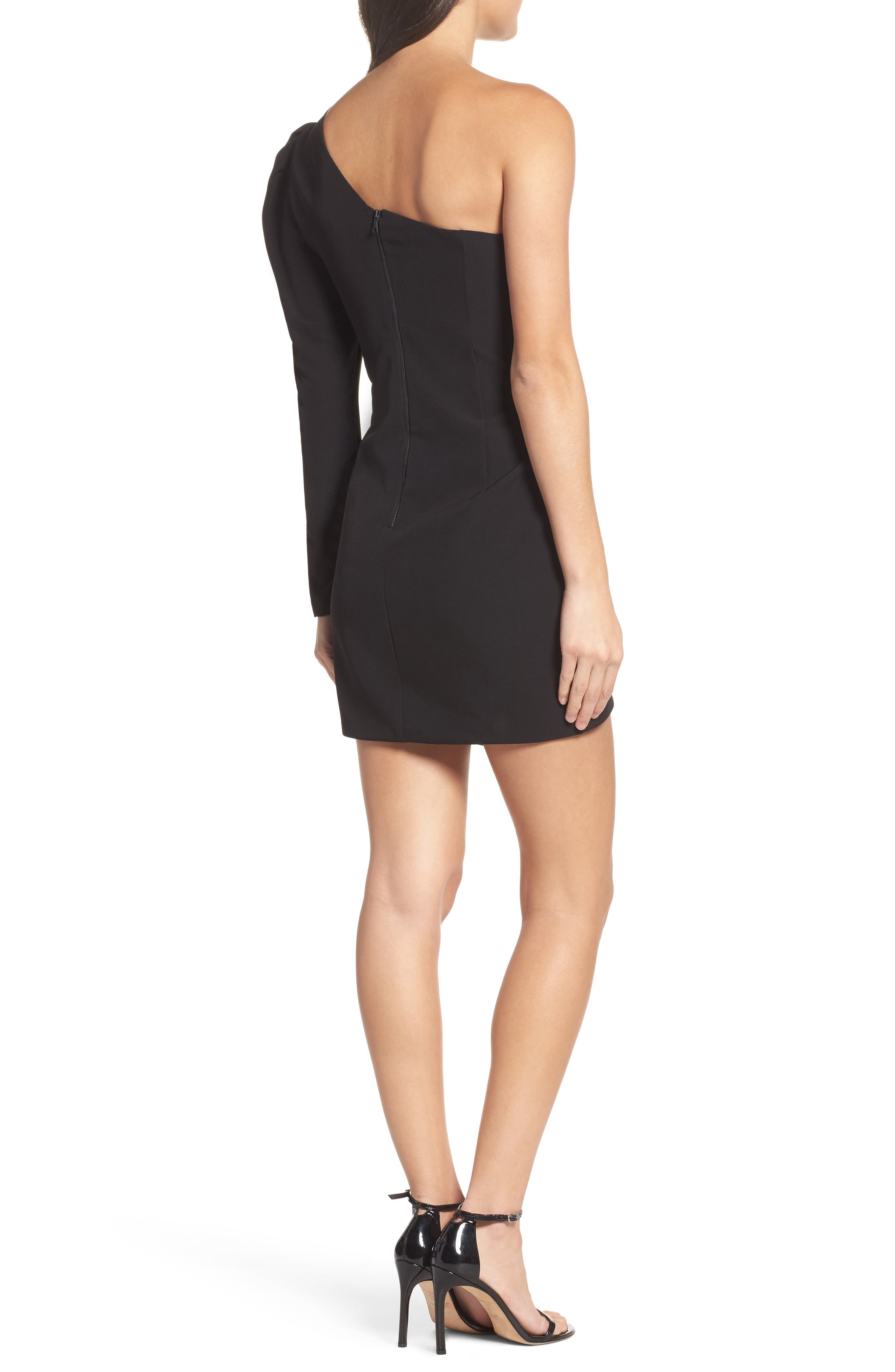 Anja One-Shoulder Sheath Dress,                             Alternate thumbnail 2, color,                             Black