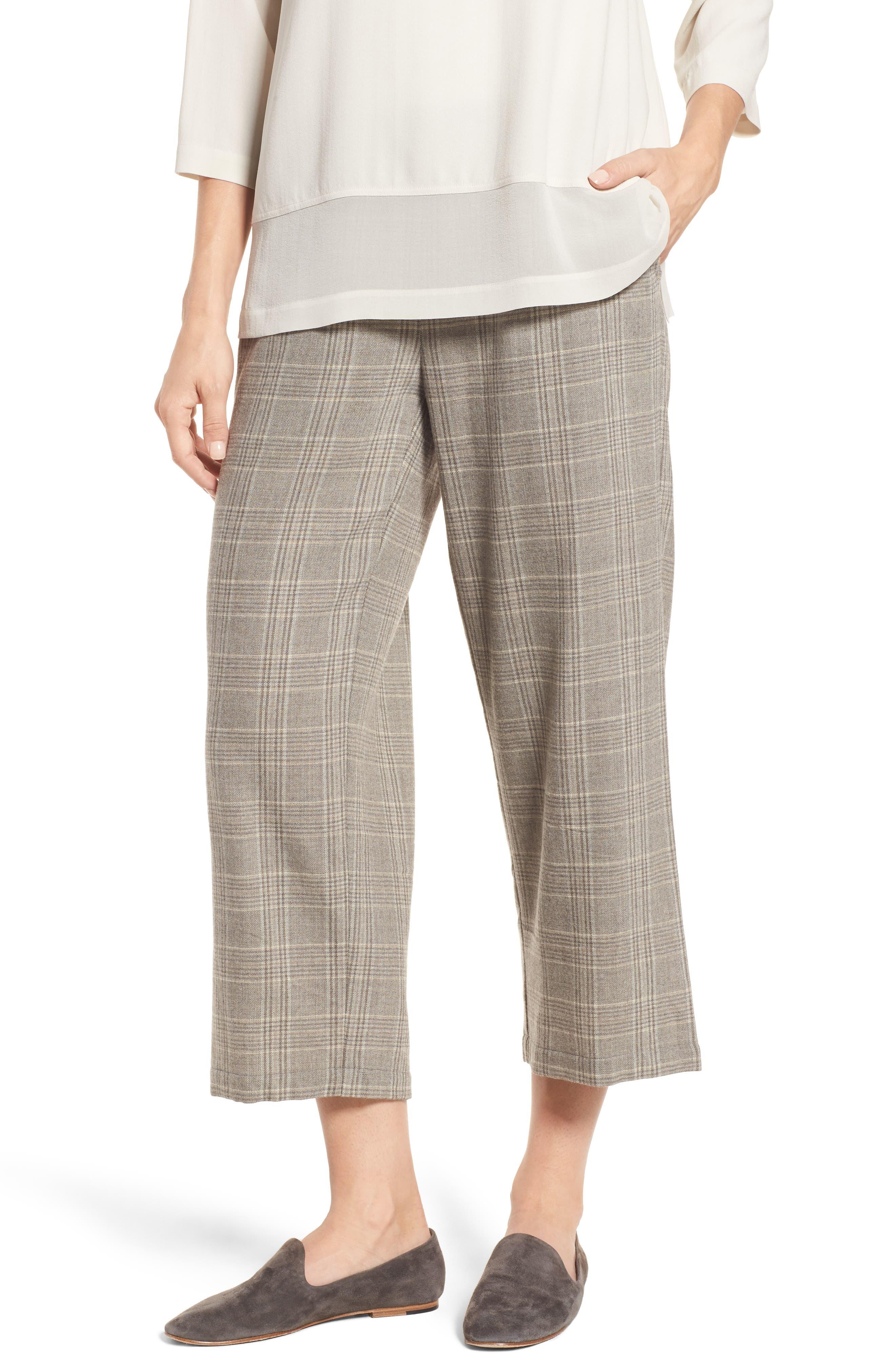 Plaid Wide Leg Crop Pants,                         Main,                         color, Beige