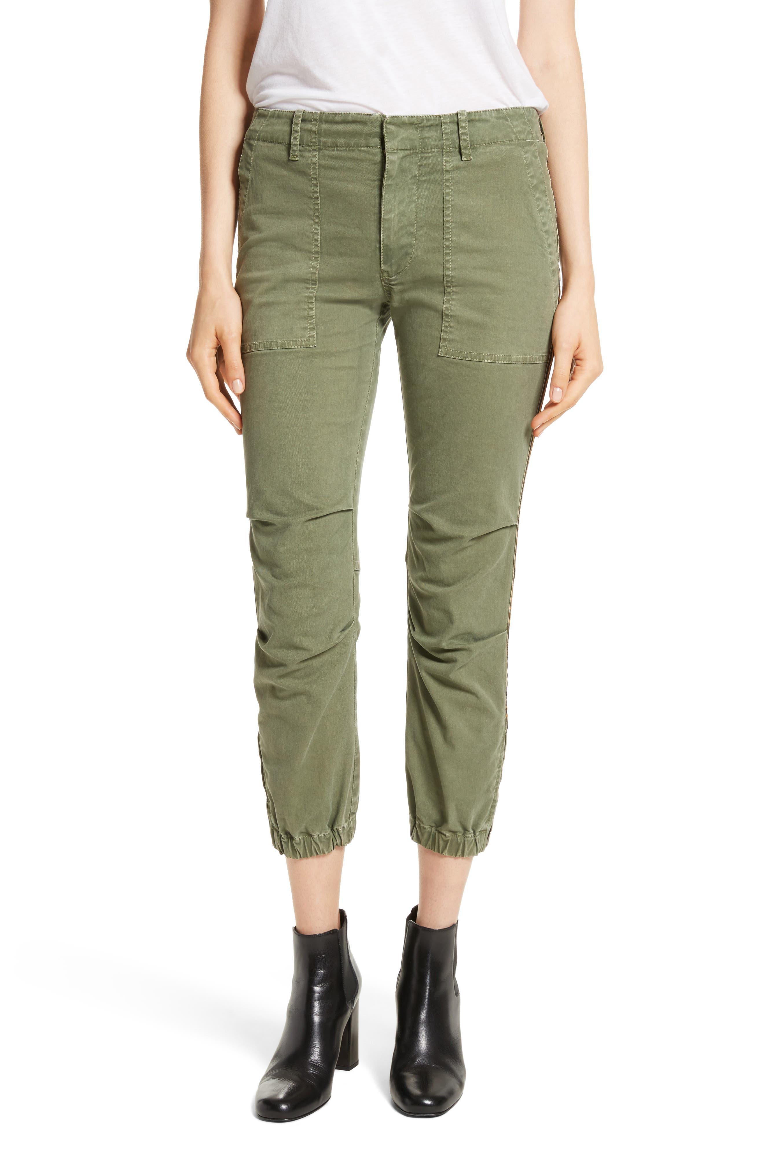 French Crop Military Pants,                             Main thumbnail 1, color,                             Camo