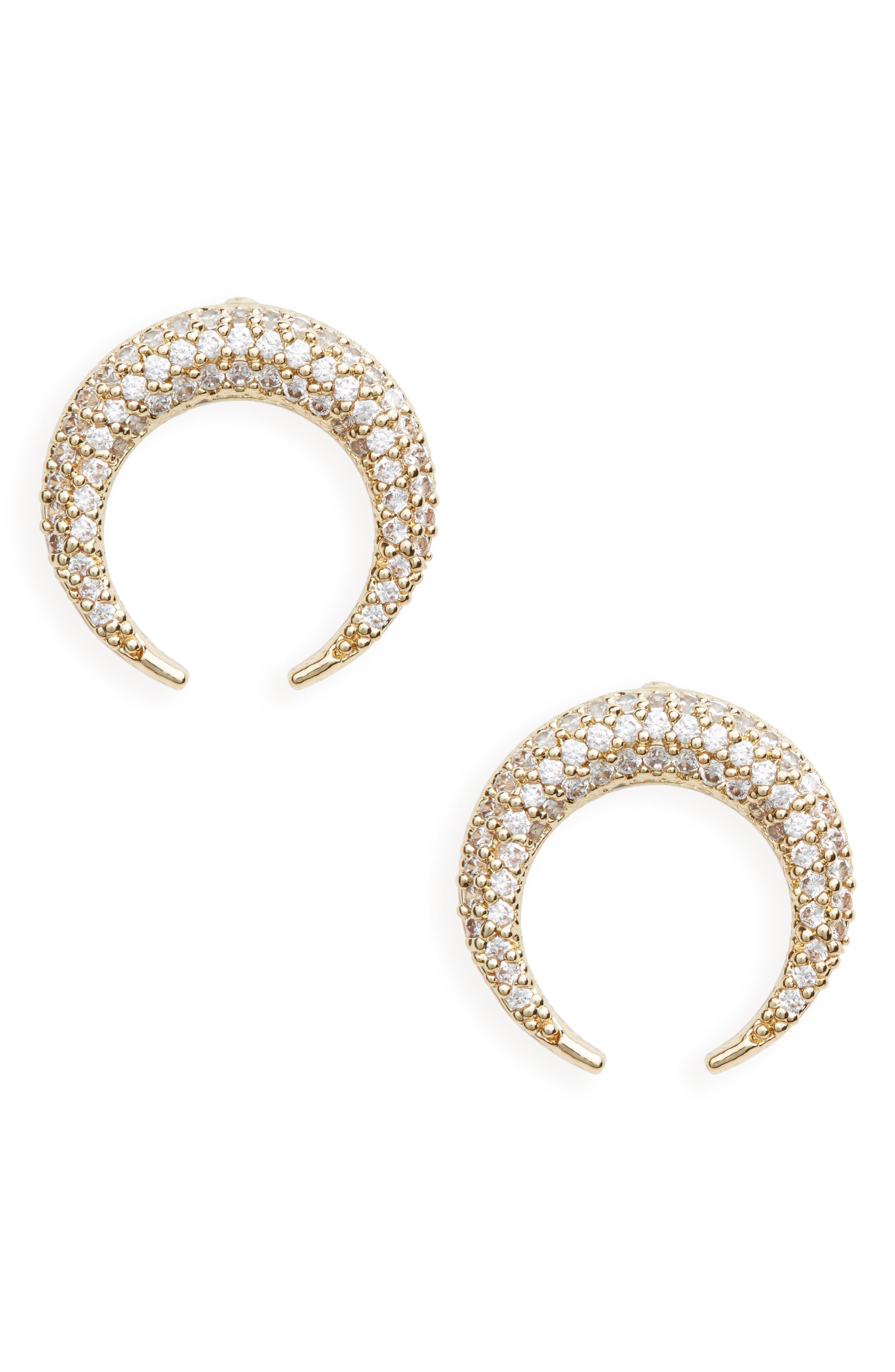 Crystal Horn Earrings,                         Main,                         color, Gold