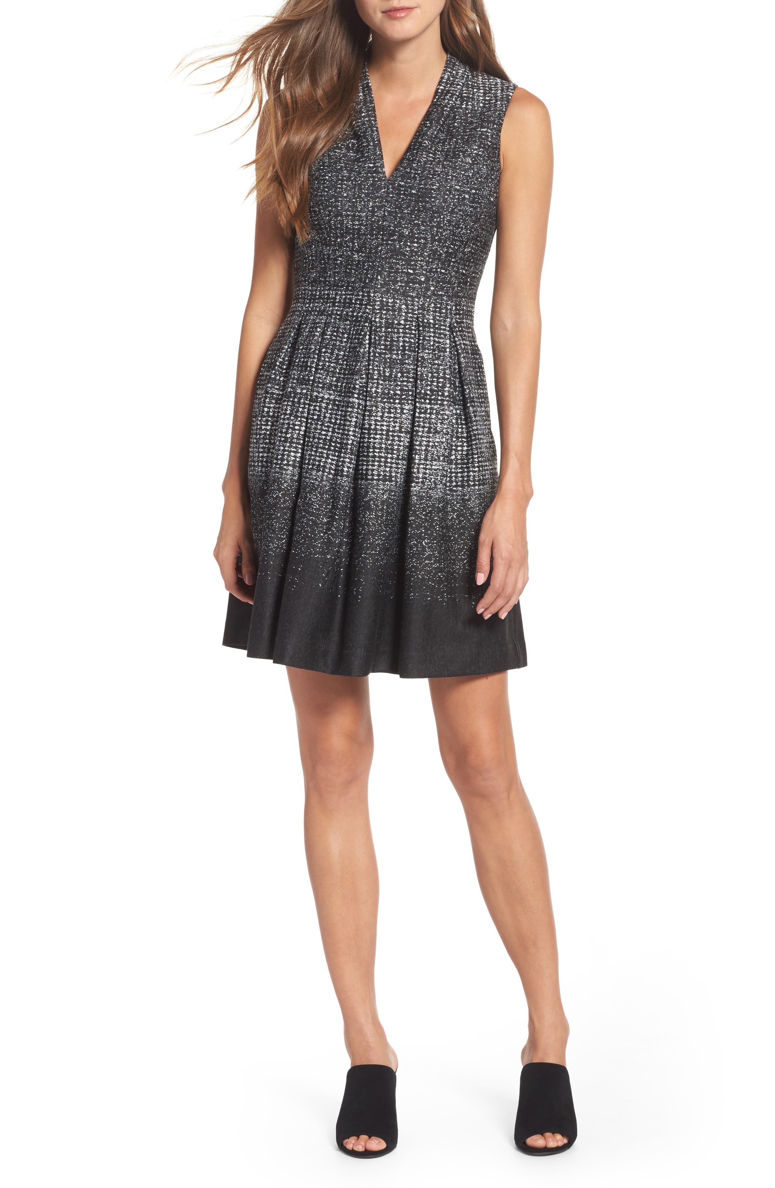 Alternate Image 1 Selected - Vince Camuto Sleeveless Fit & Flare Dress (Regular & Petite)