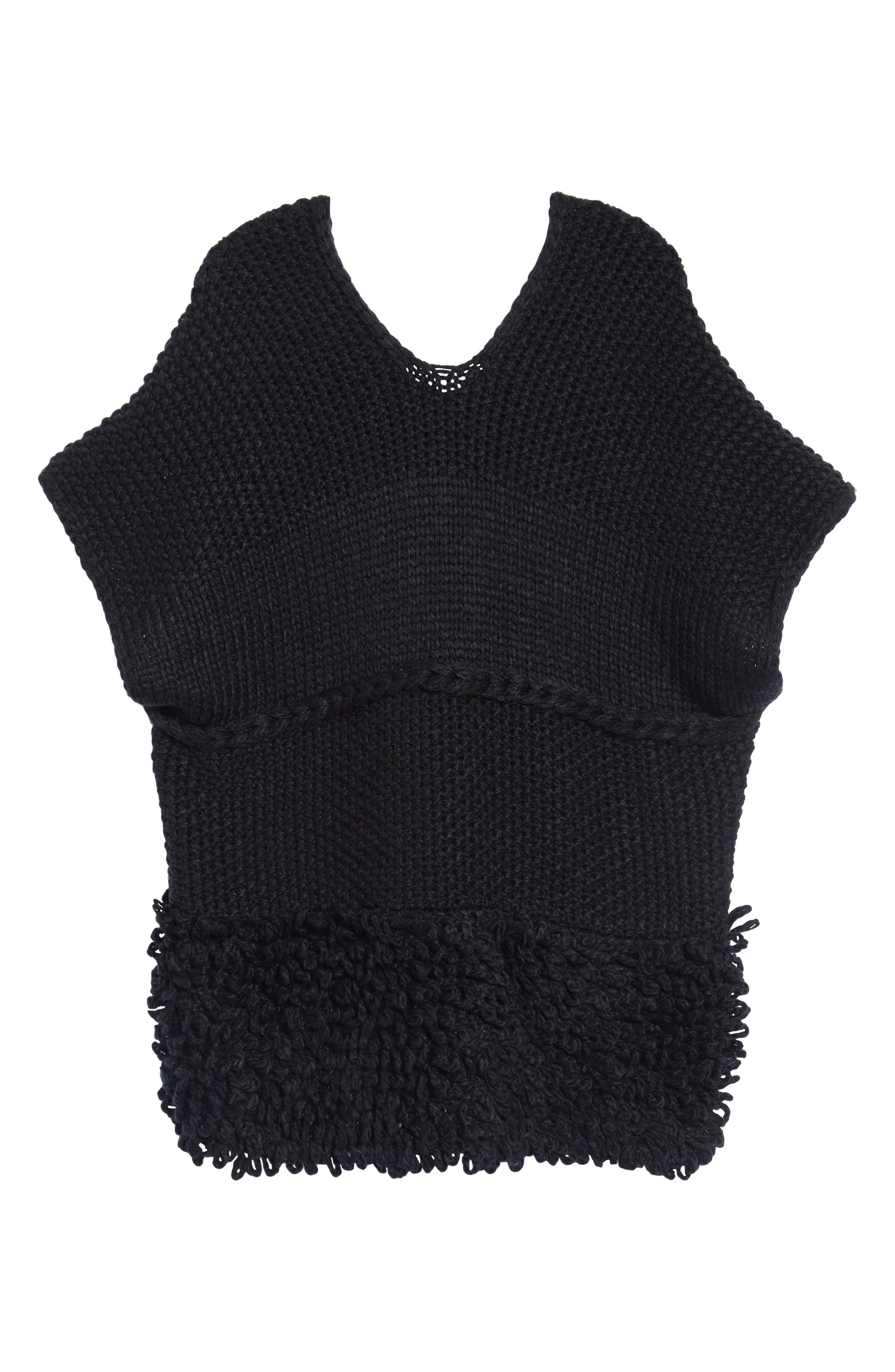 Knit Poncho,                             Alternate thumbnail 6, color,                             Black