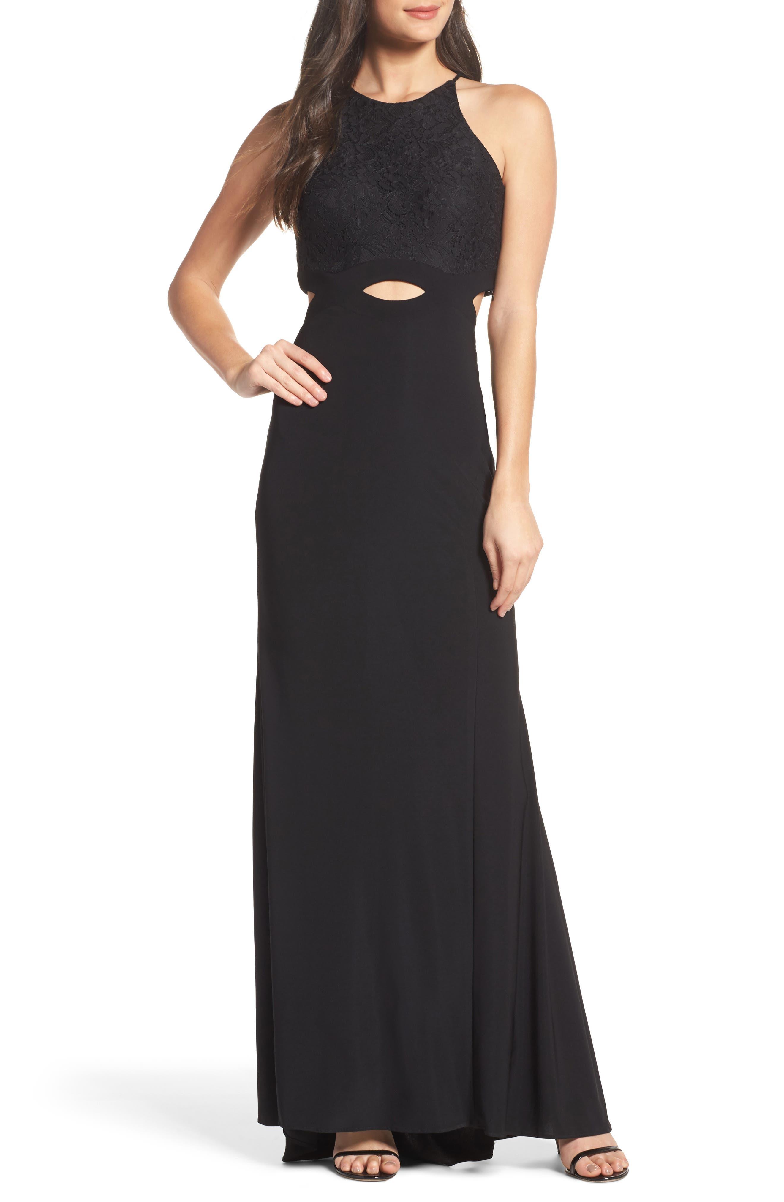 Colorblock Lace Gown,                         Main,                         color, Black
