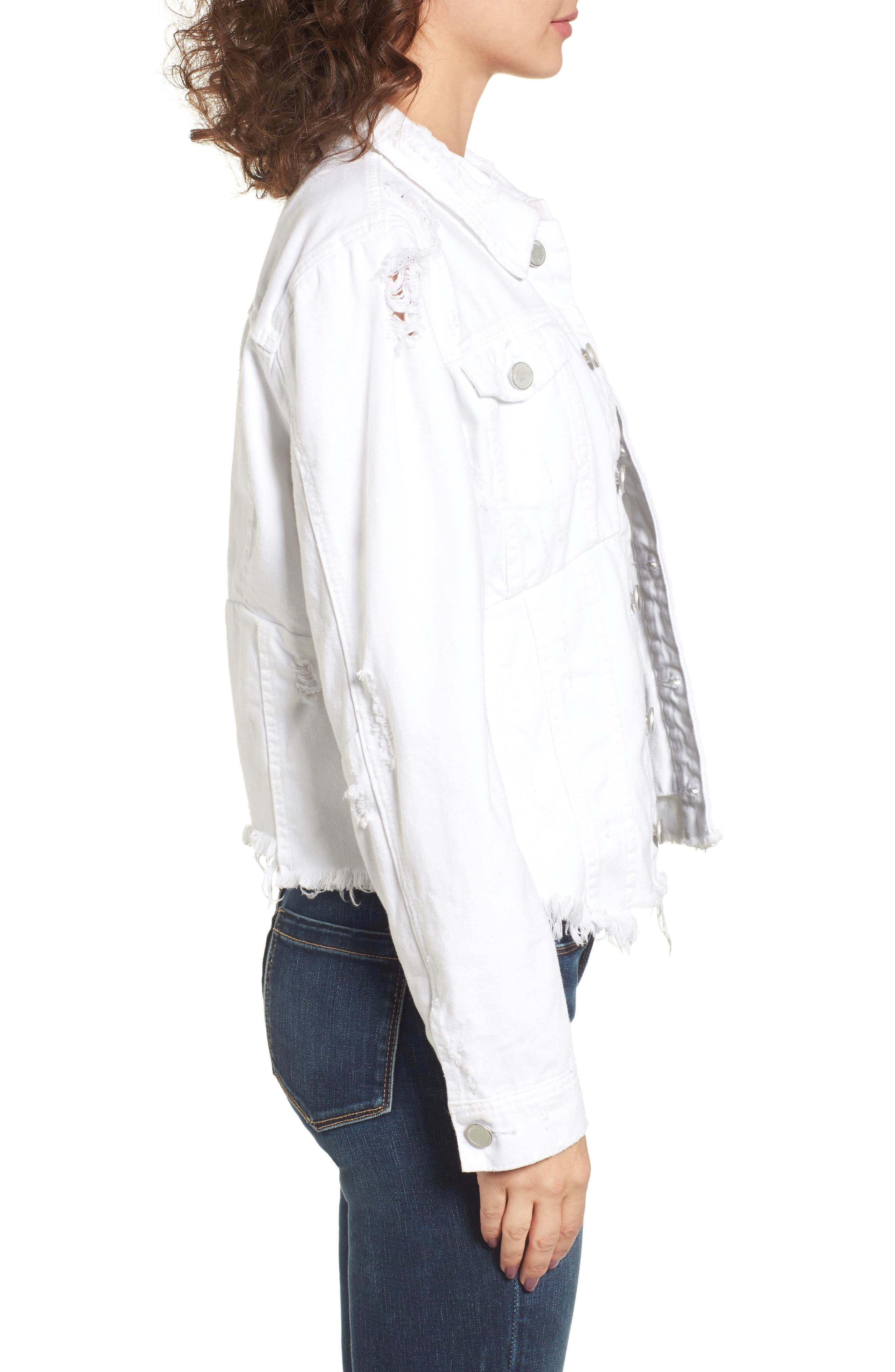 Distressed Denim Jacket,                             Alternate thumbnail 3, color,                             Lightbox White
