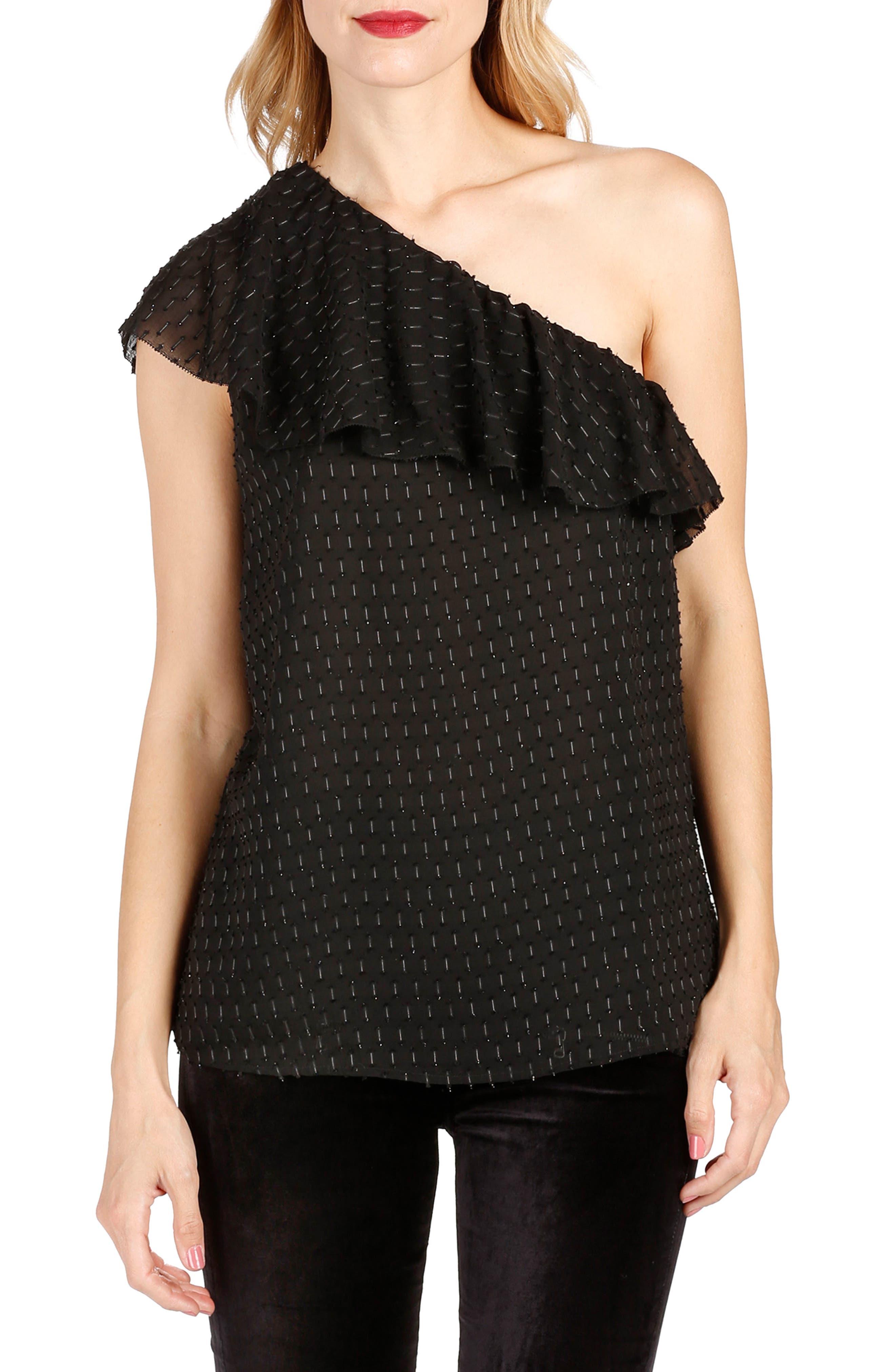 Shandi One-Shoulder Top,                         Main,                         color, Black