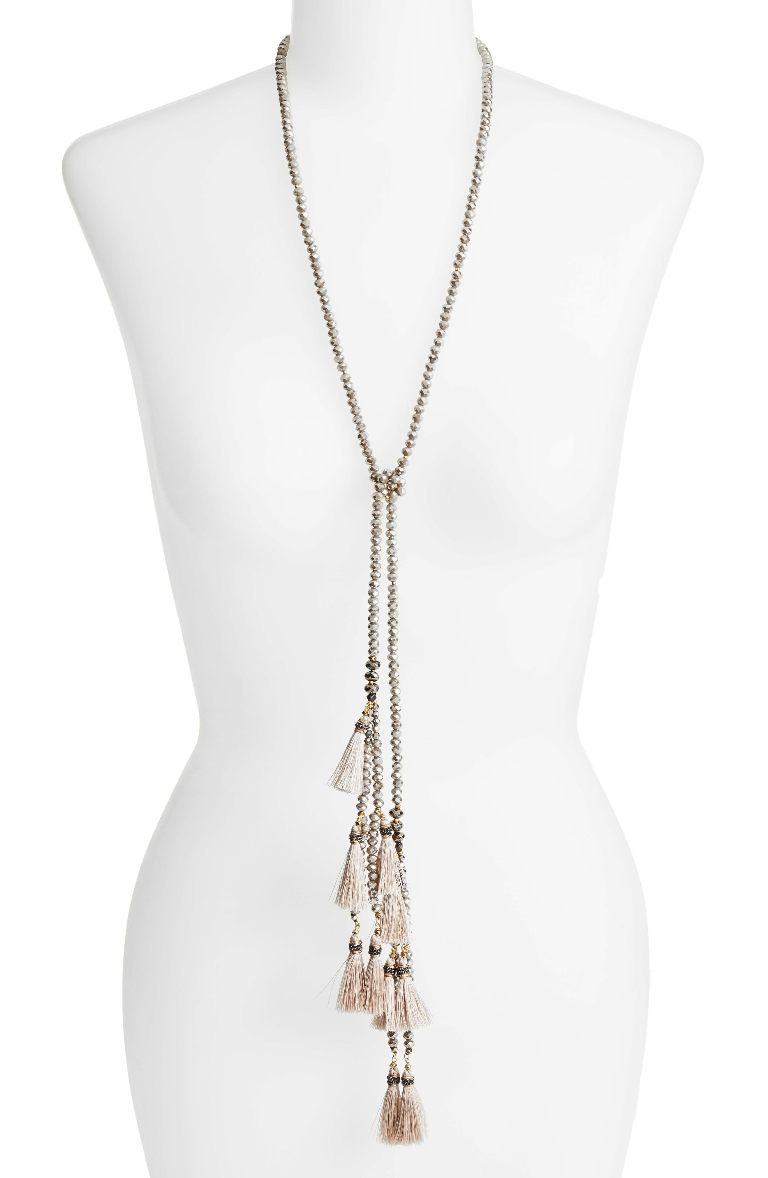 Tassel Lariat Necklace,                             Main thumbnail 1, color,                             Nude