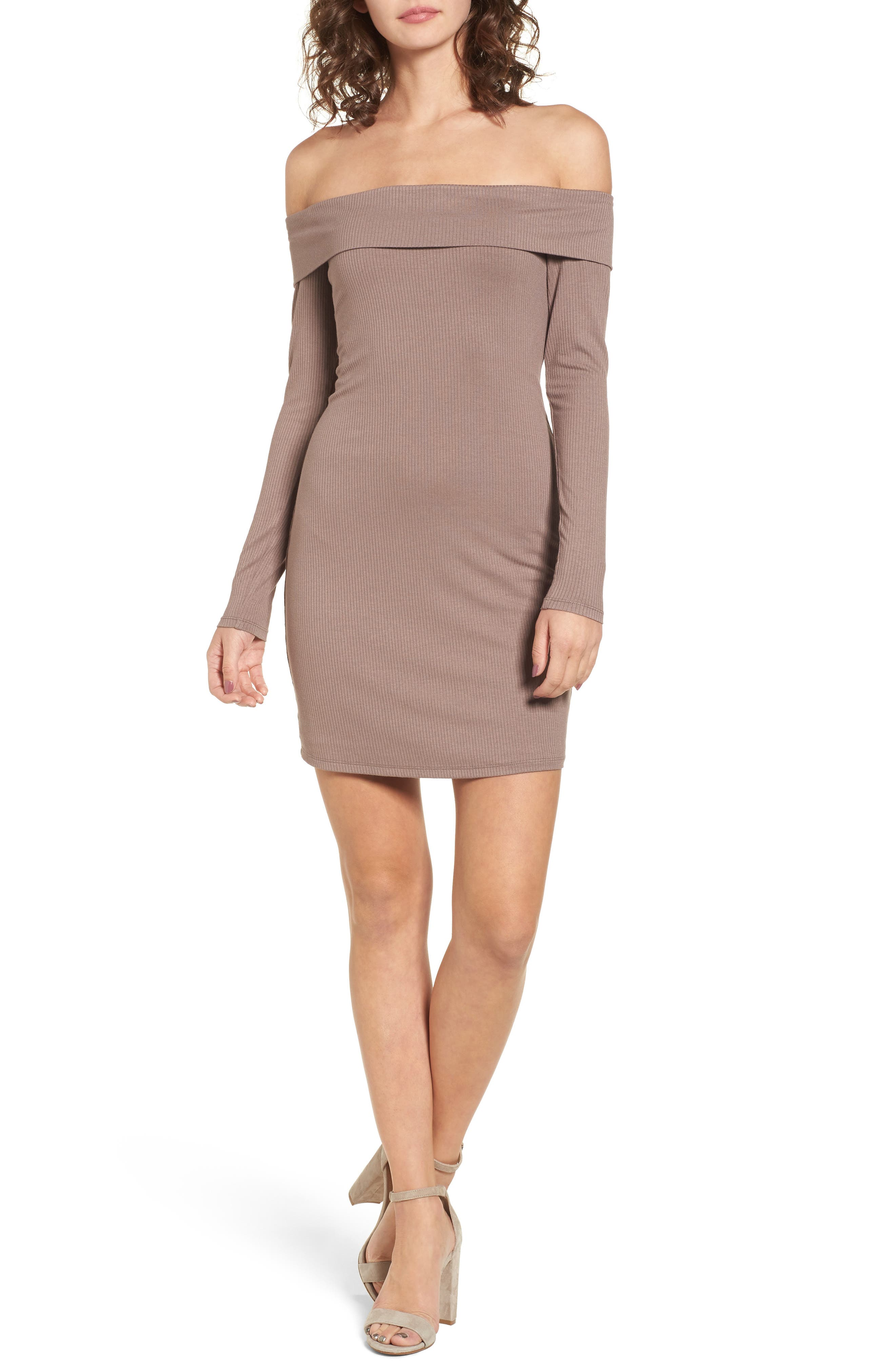 Silas Off the Shoulder Body-Con Dress,                             Main thumbnail 1, color,                             Warm Taupe