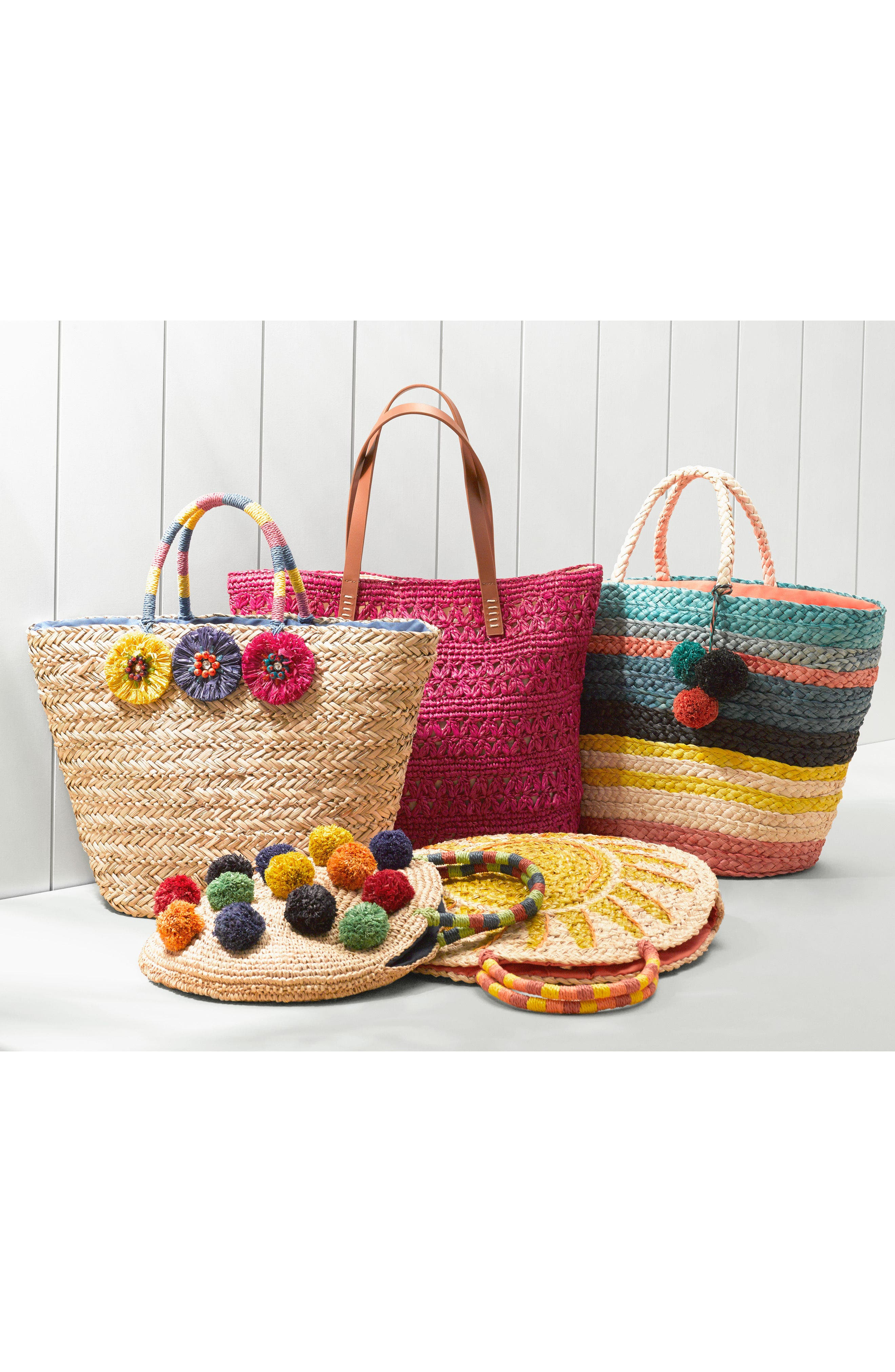 Multi Pom Circular Raffia Tote,                             Alternate thumbnail 7, color,