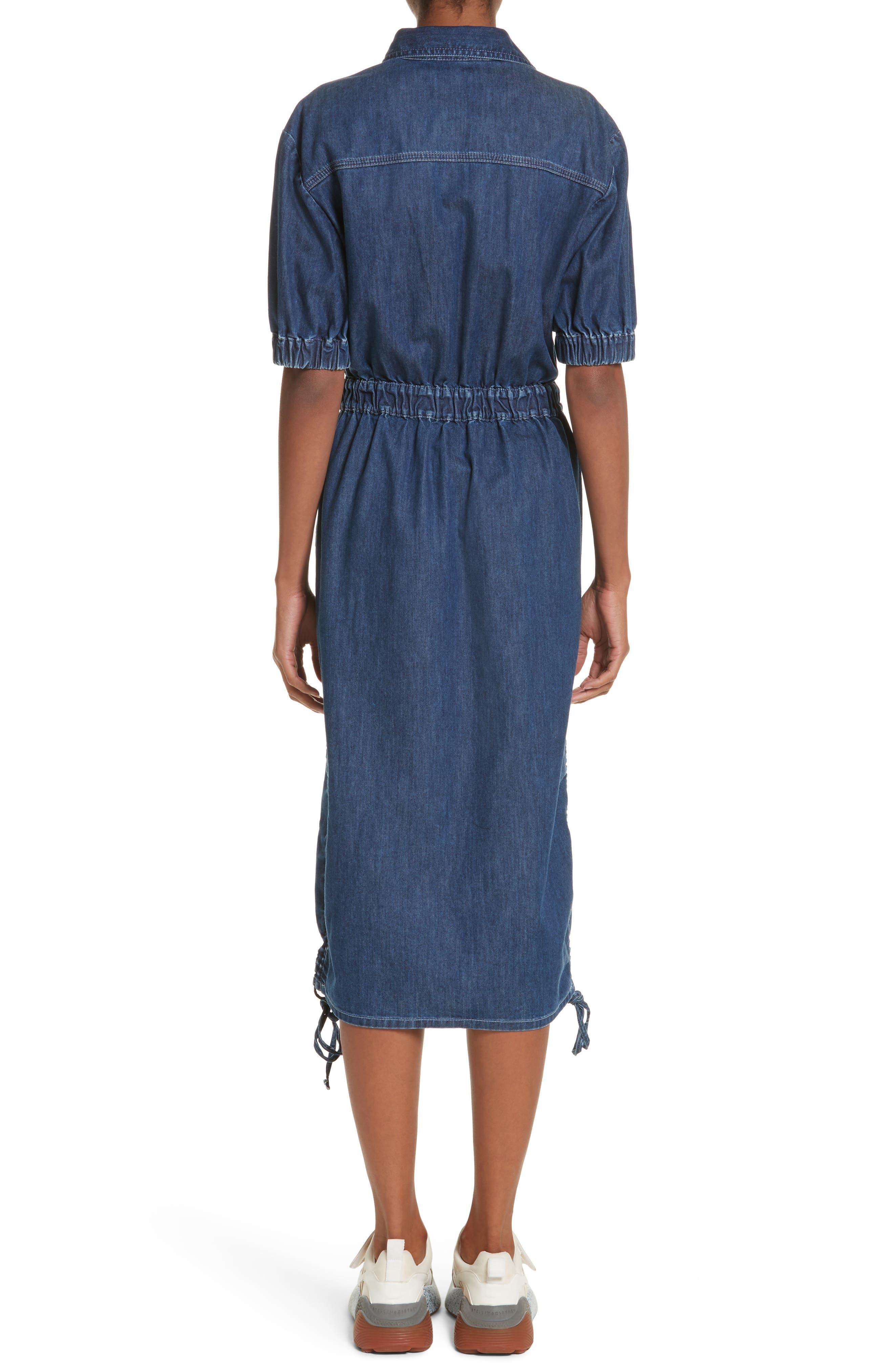 Ruched Denim Midi Dress,                             Alternate thumbnail 2, color,                             Dark Blue