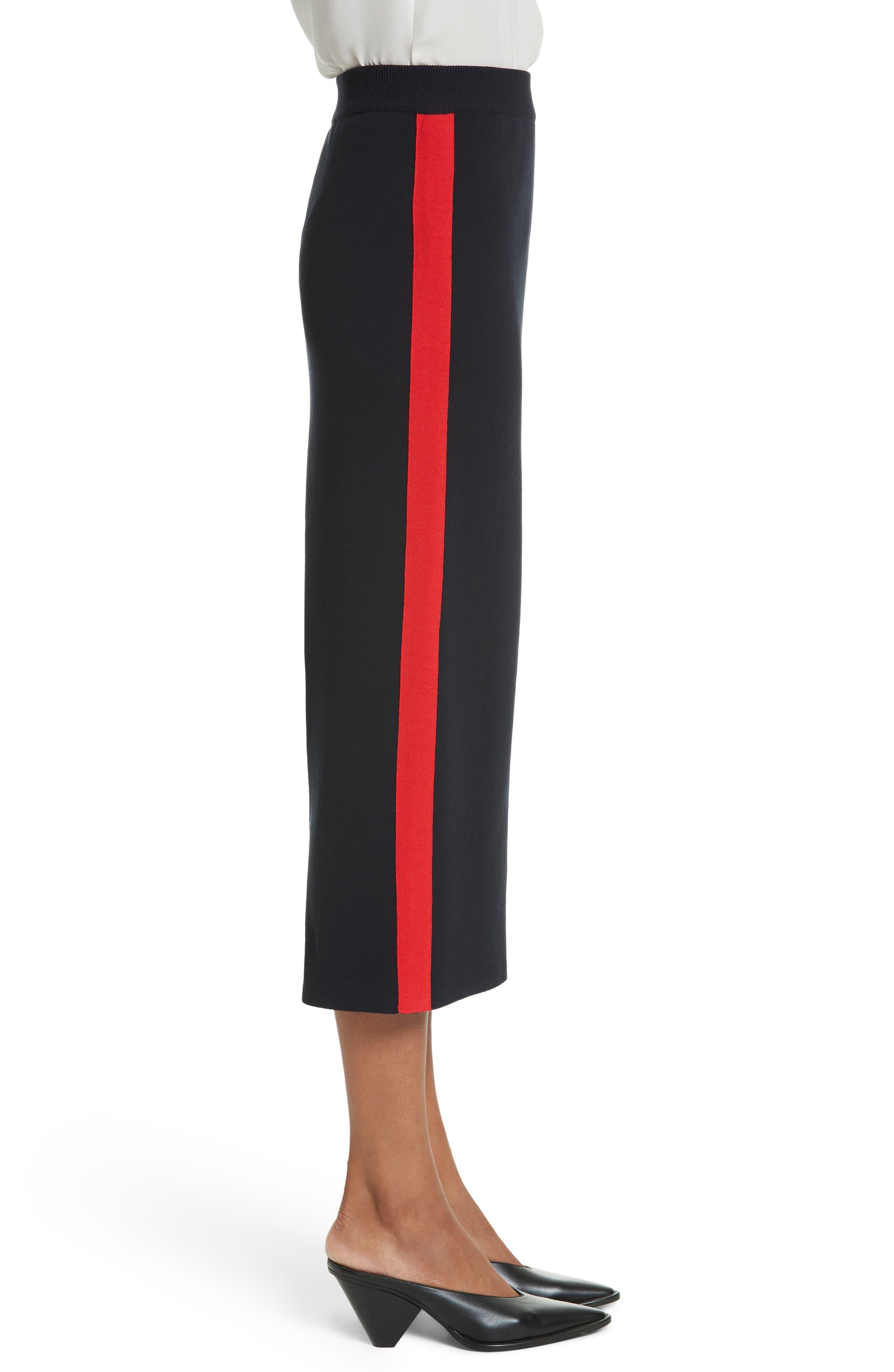 Stripe Cotton Skirt,                             Alternate thumbnail 3, color,                             Ink