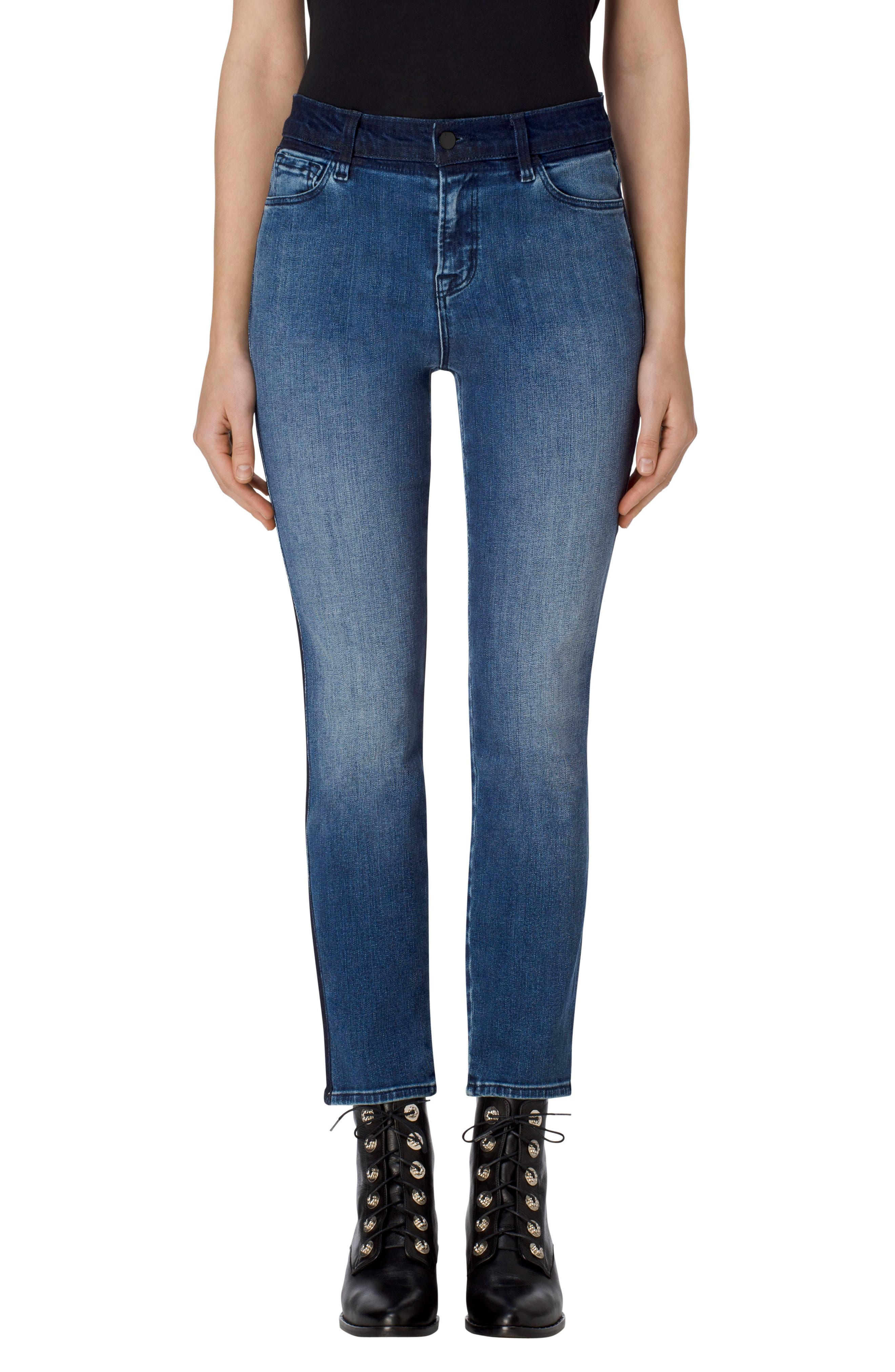 Ruby High Waist Crop Skinny Jeans,                             Main thumbnail 1, color,                             Point Blank