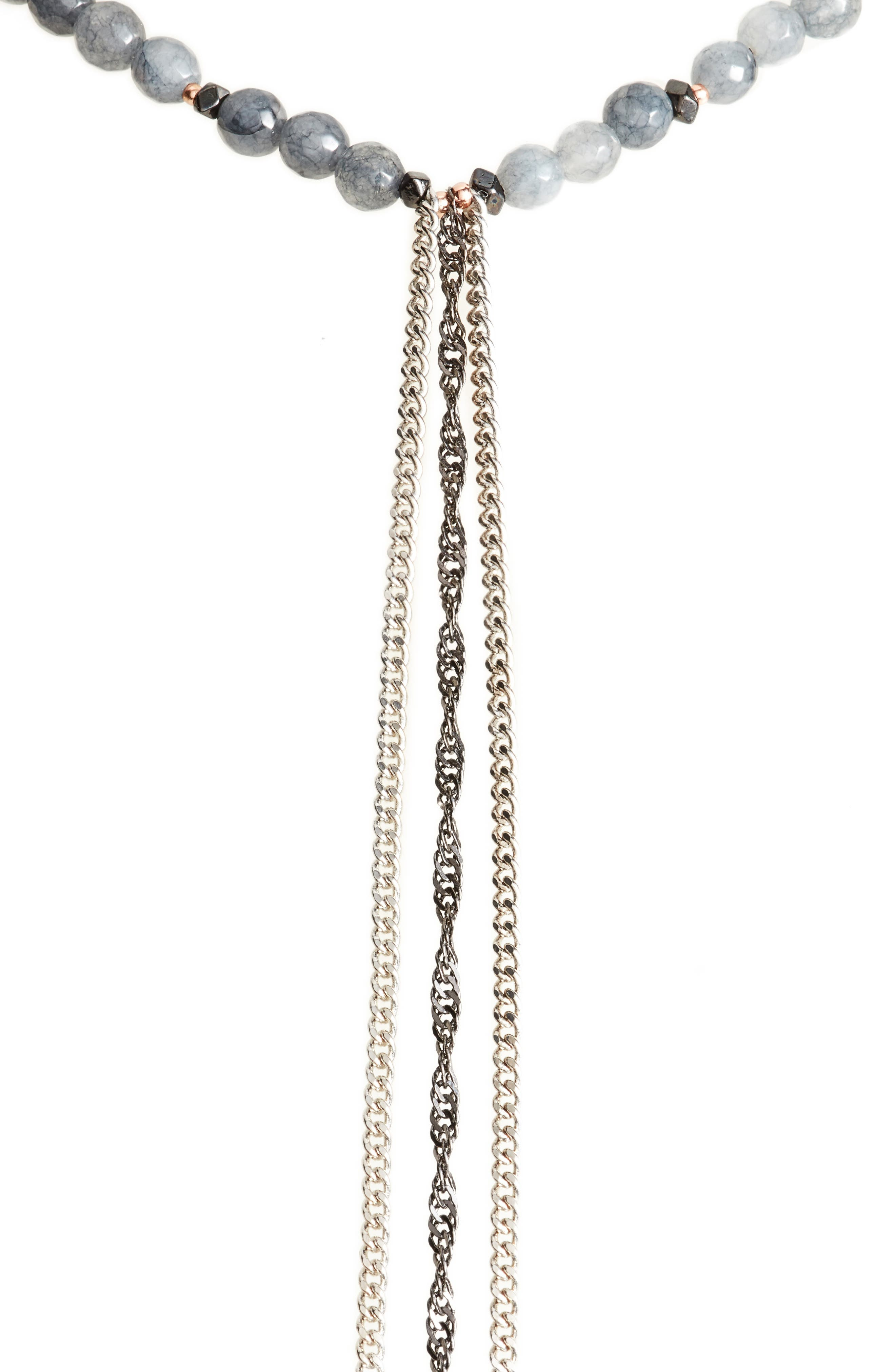 Chain Tassel Necklace,                             Alternate thumbnail 2, color,                             Grey
