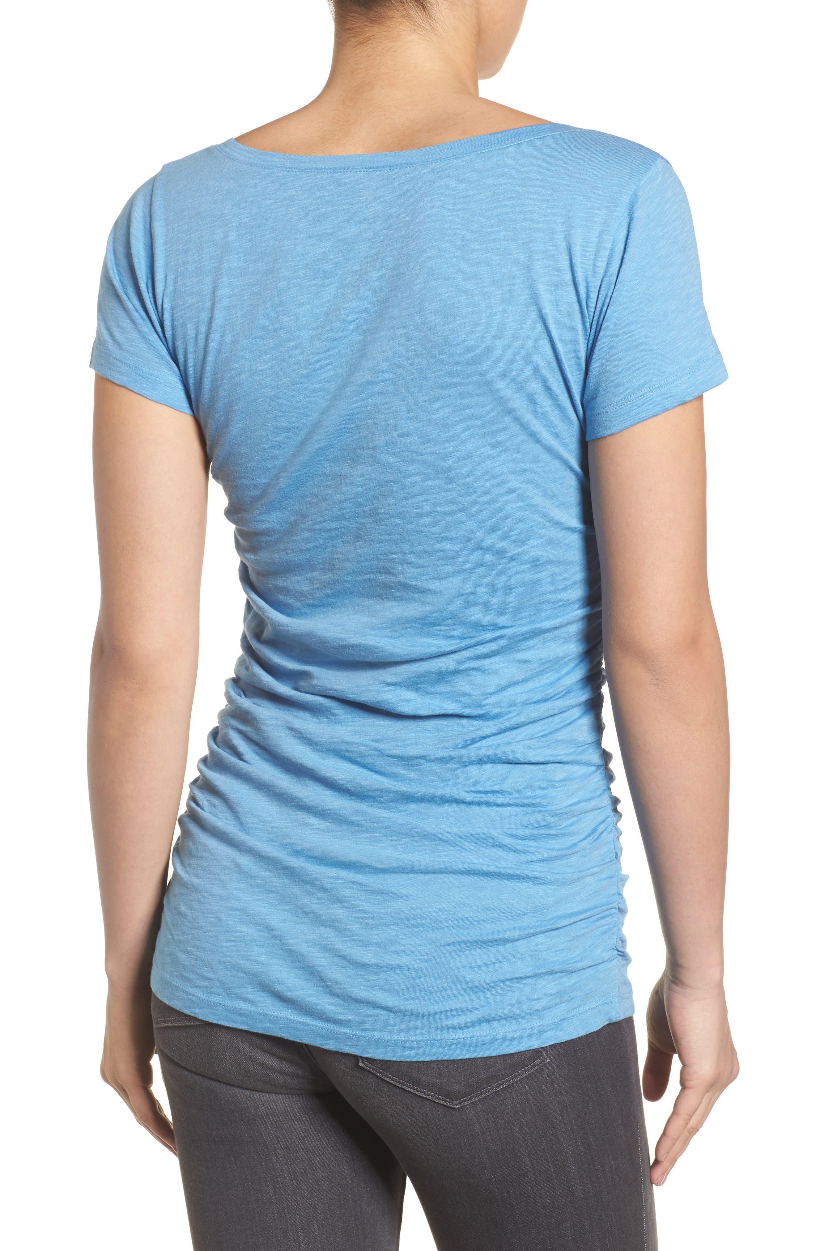 Alternate Image 2  - Caslon® Shirred V-Neck Tee (Regular & Petite)