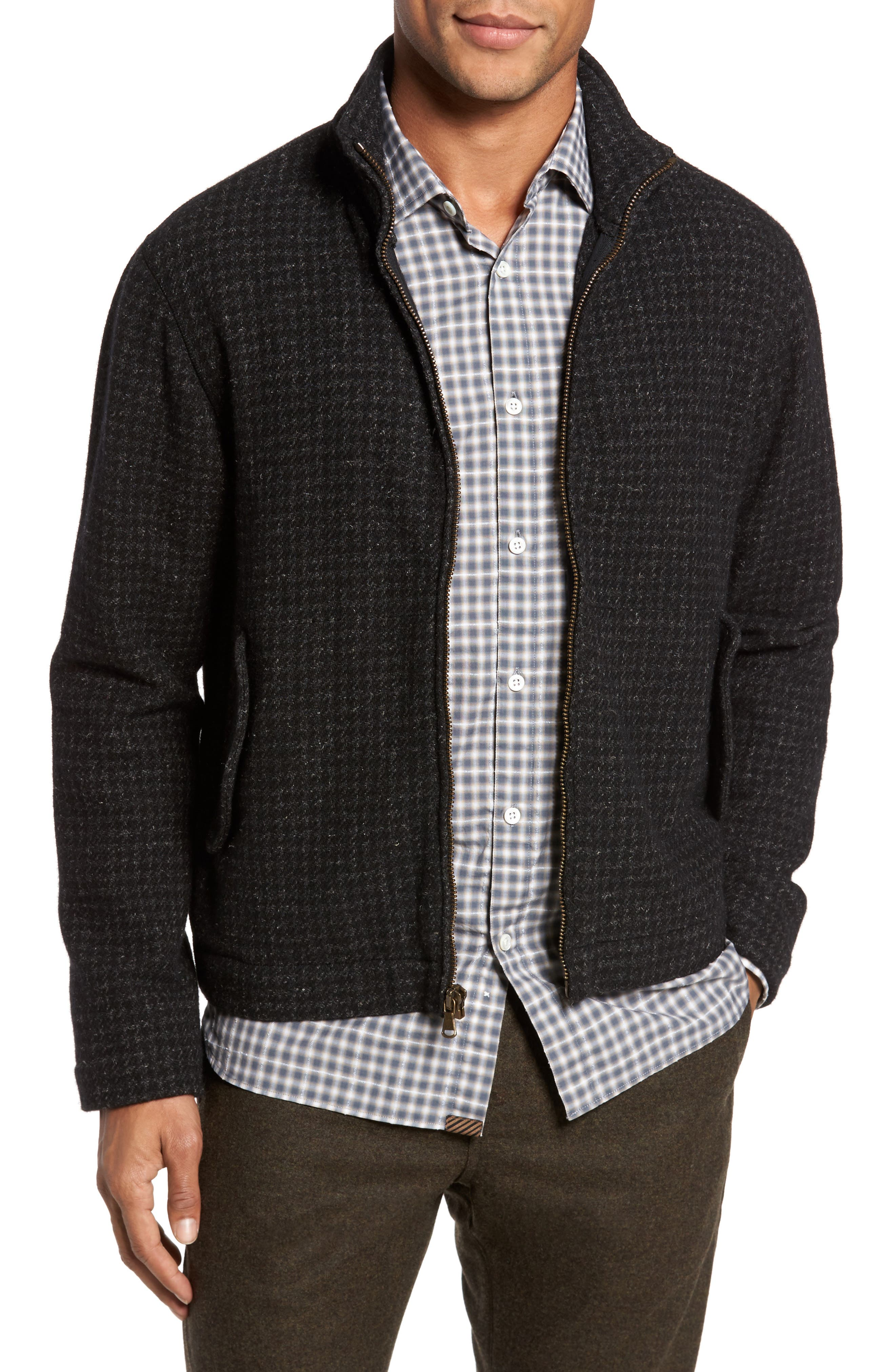 Neil Wool Blend Zip Front Jacket,                         Main,                         color, Charcoal