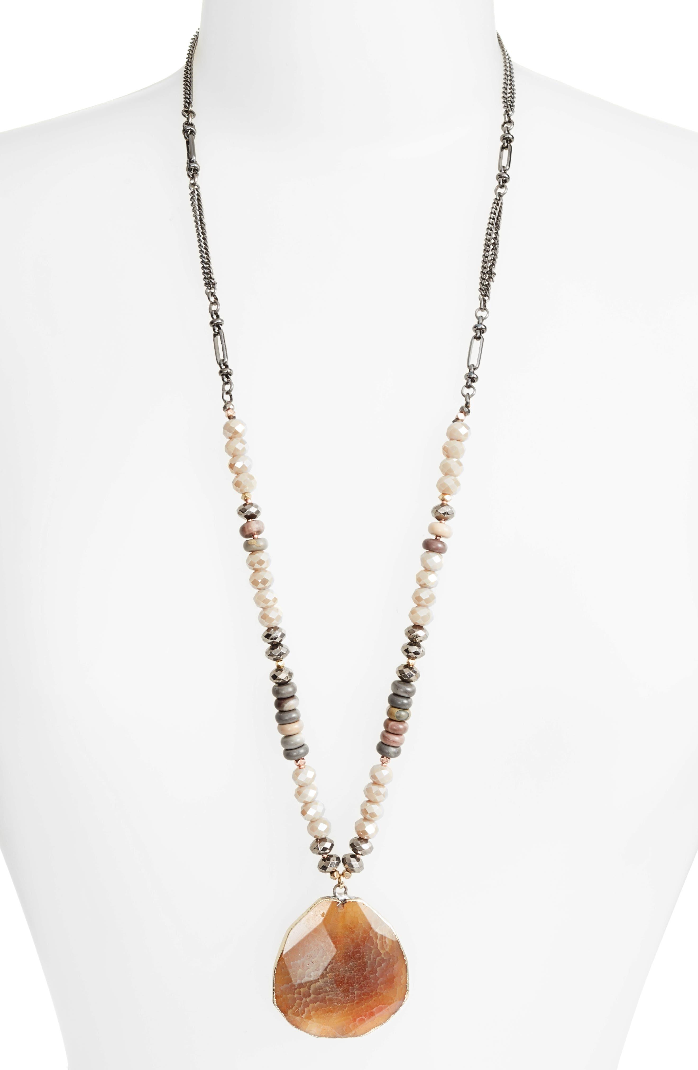 Long Agate Pendant Necklace,                         Main,                         color, Nude