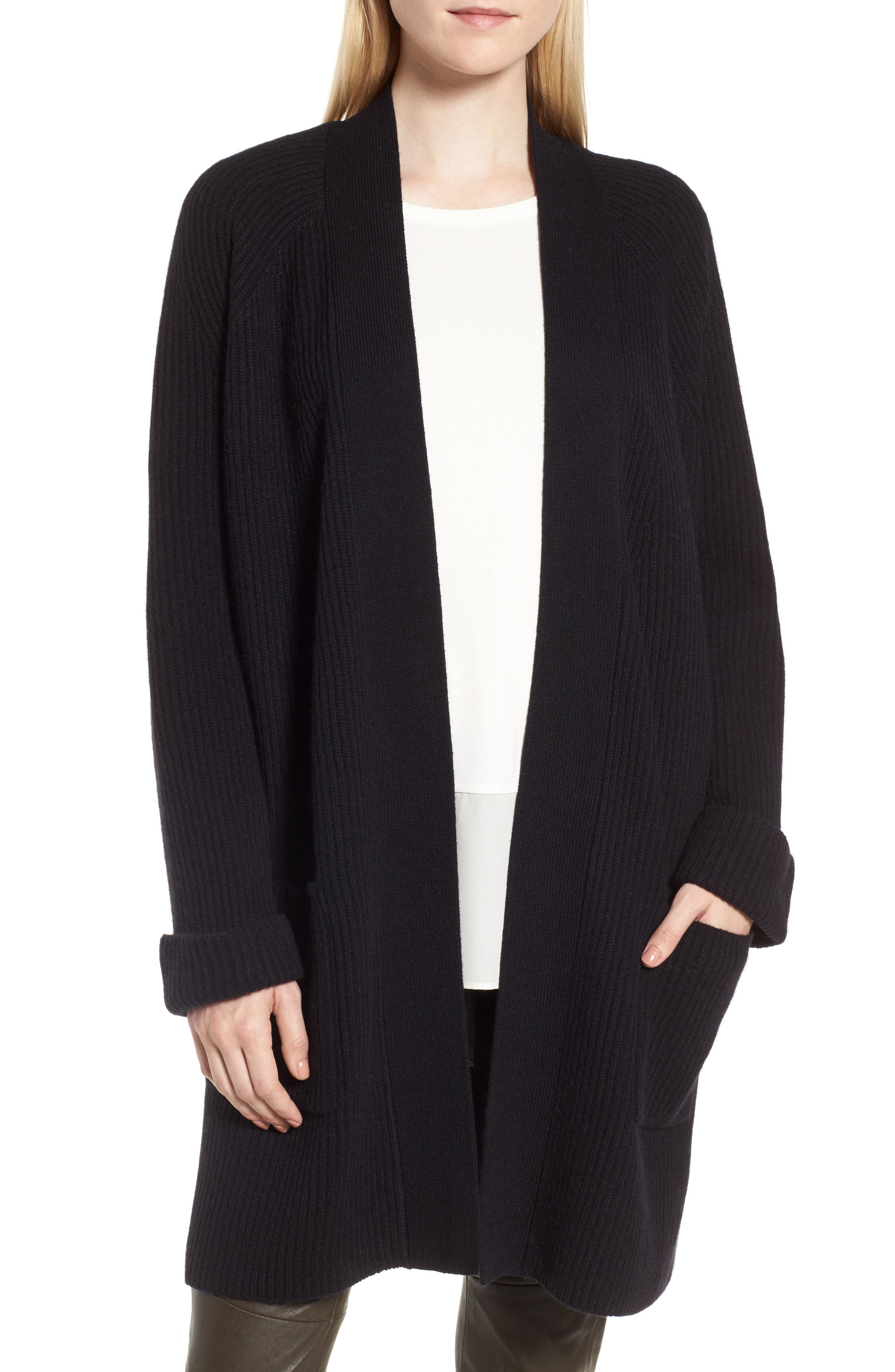 Cashmere Ribbed Open Cardigan,                             Main thumbnail 1, color,                             Black