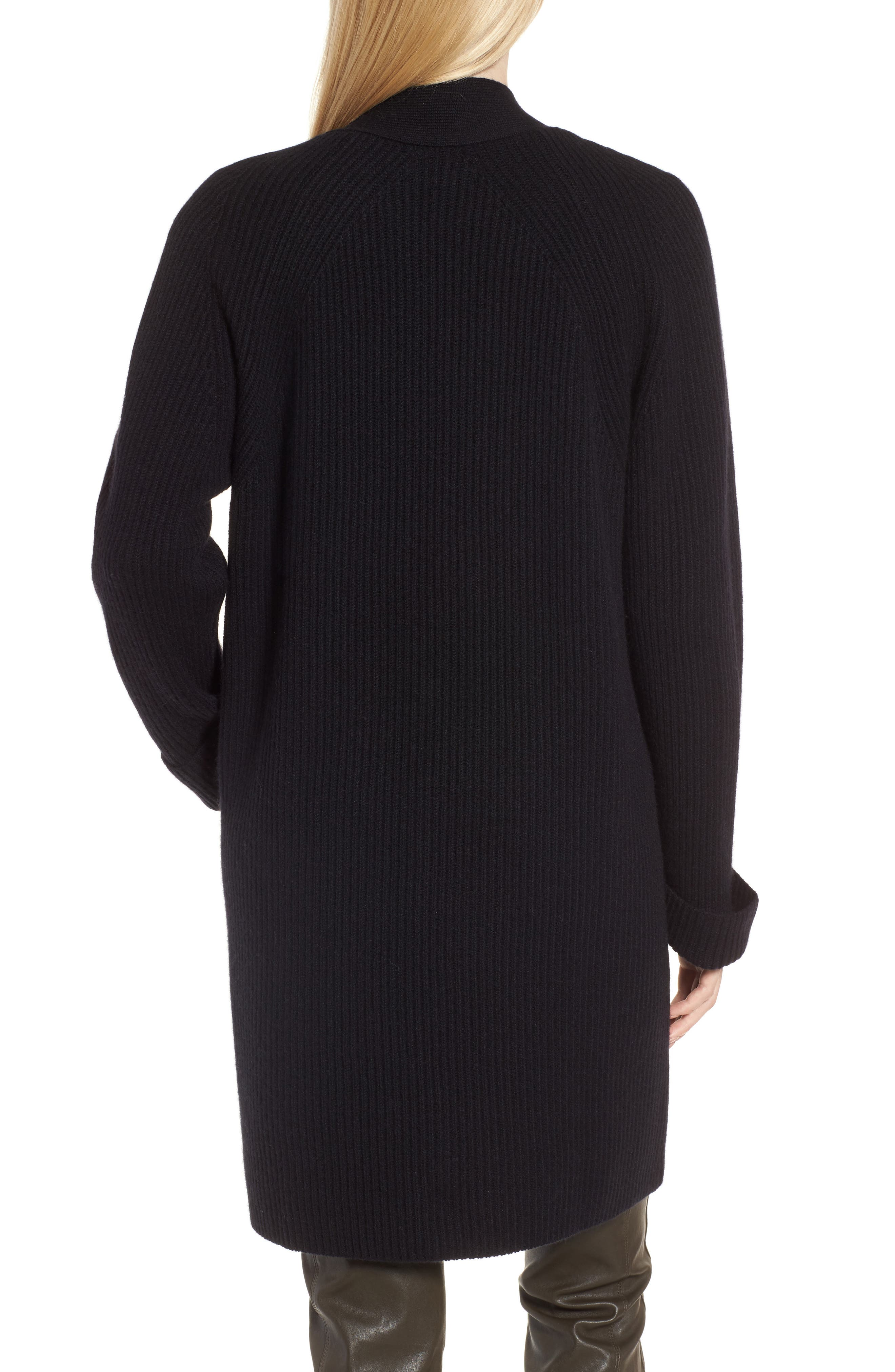 Cashmere Ribbed Open Cardigan,                             Alternate thumbnail 2, color,                             Black