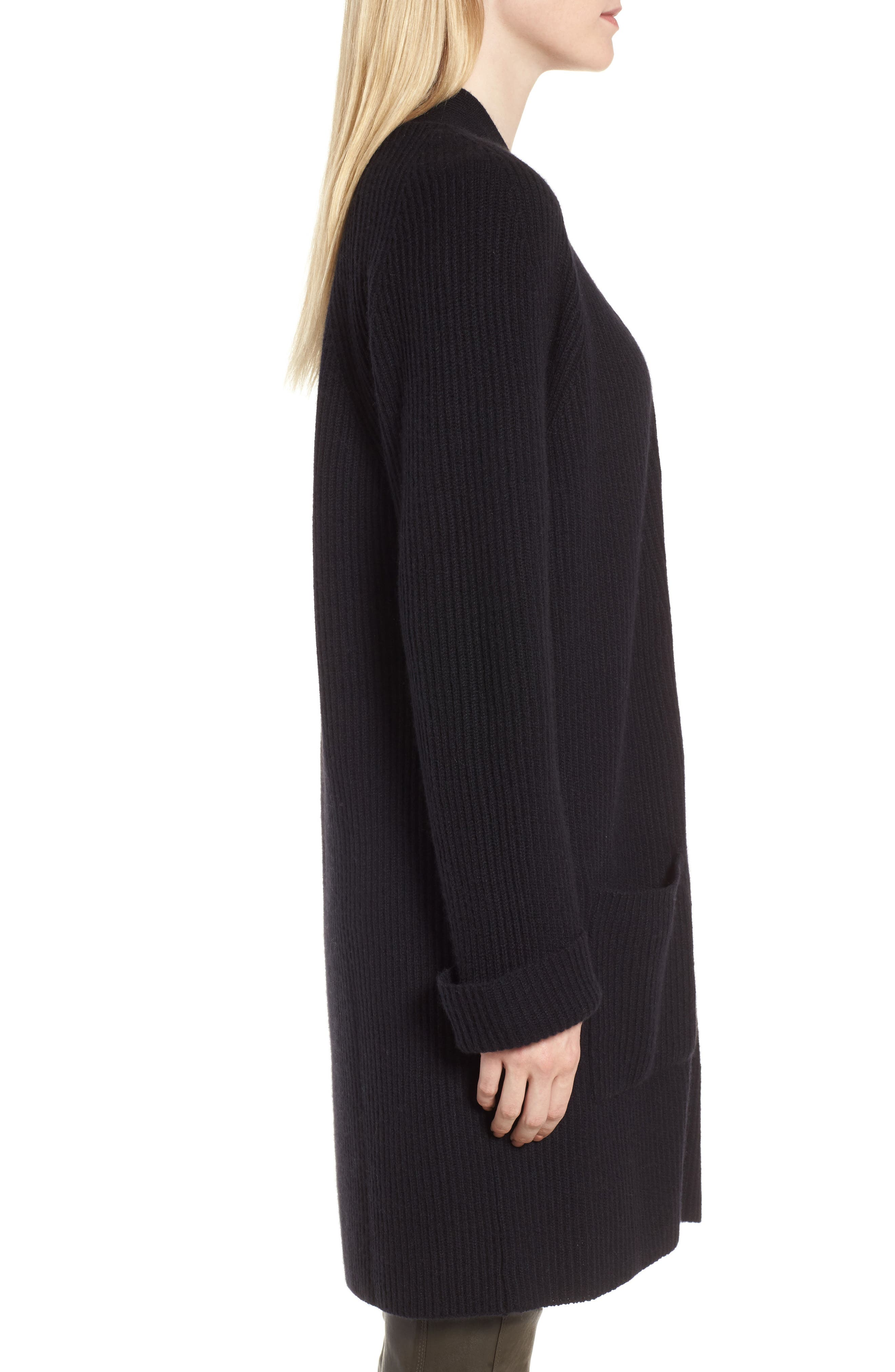 Cashmere Ribbed Open Cardigan,                             Alternate thumbnail 3, color,                             Black
