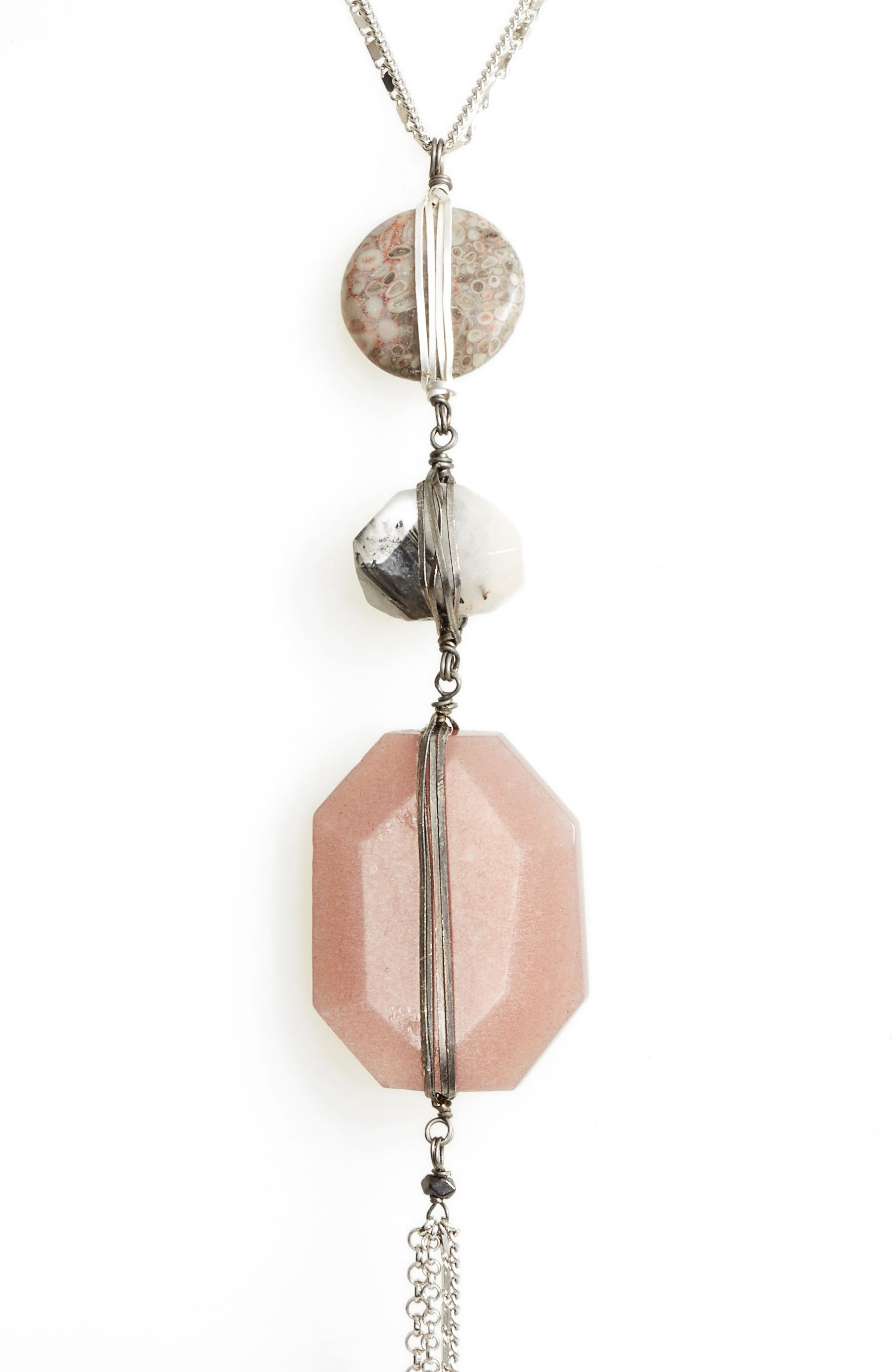 Triple Stone Y-Necklace,                         Main,                         color, Nude