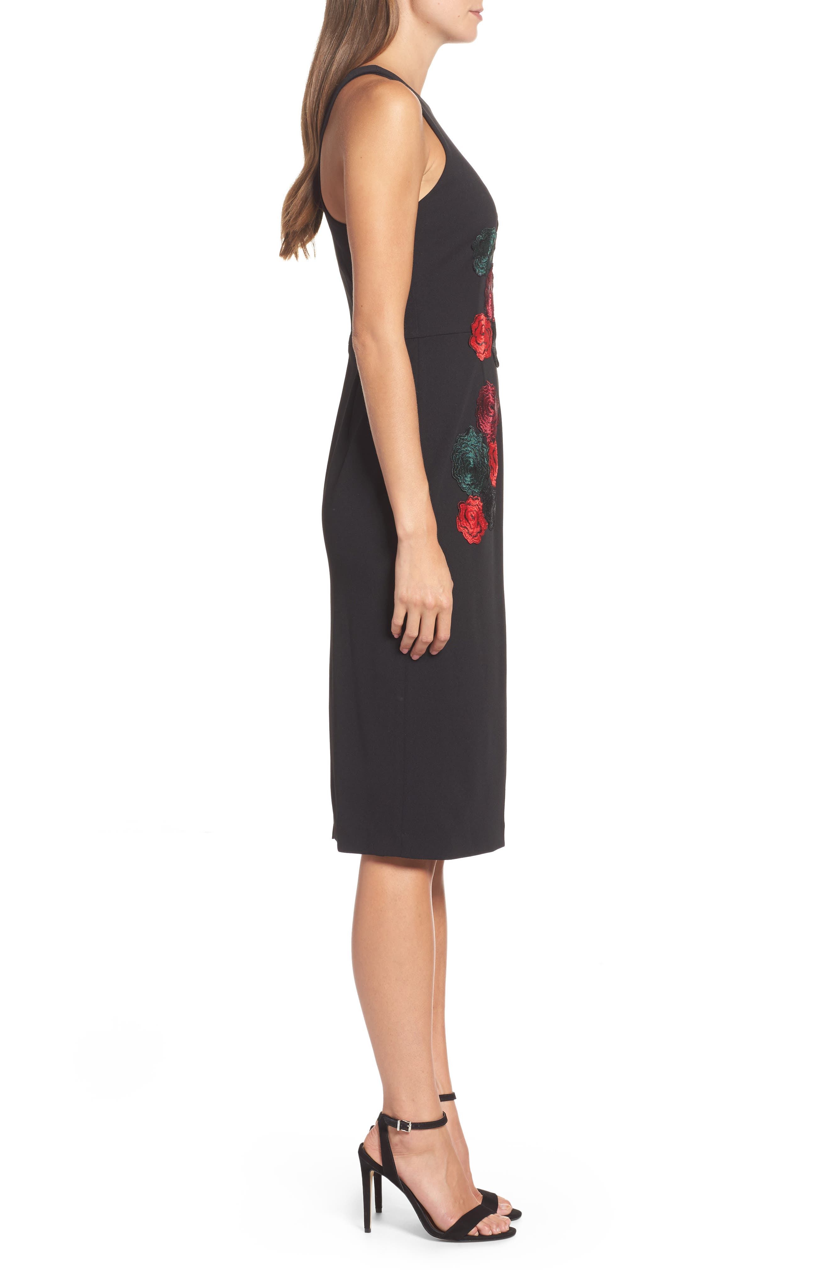 Floral Midi Dress,                             Alternate thumbnail 3, color,                             Black