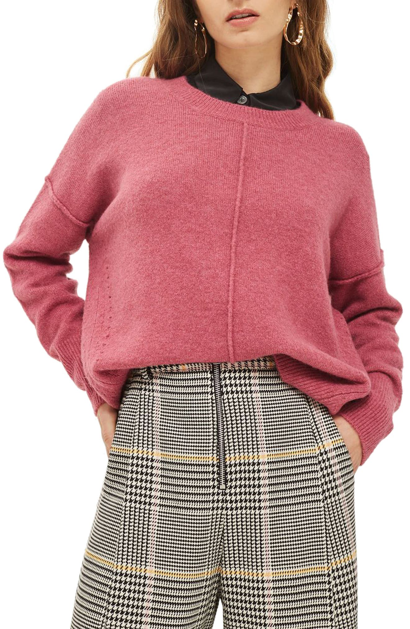 Pointelle Detail Sweater,                         Main,                         color, Raspberry