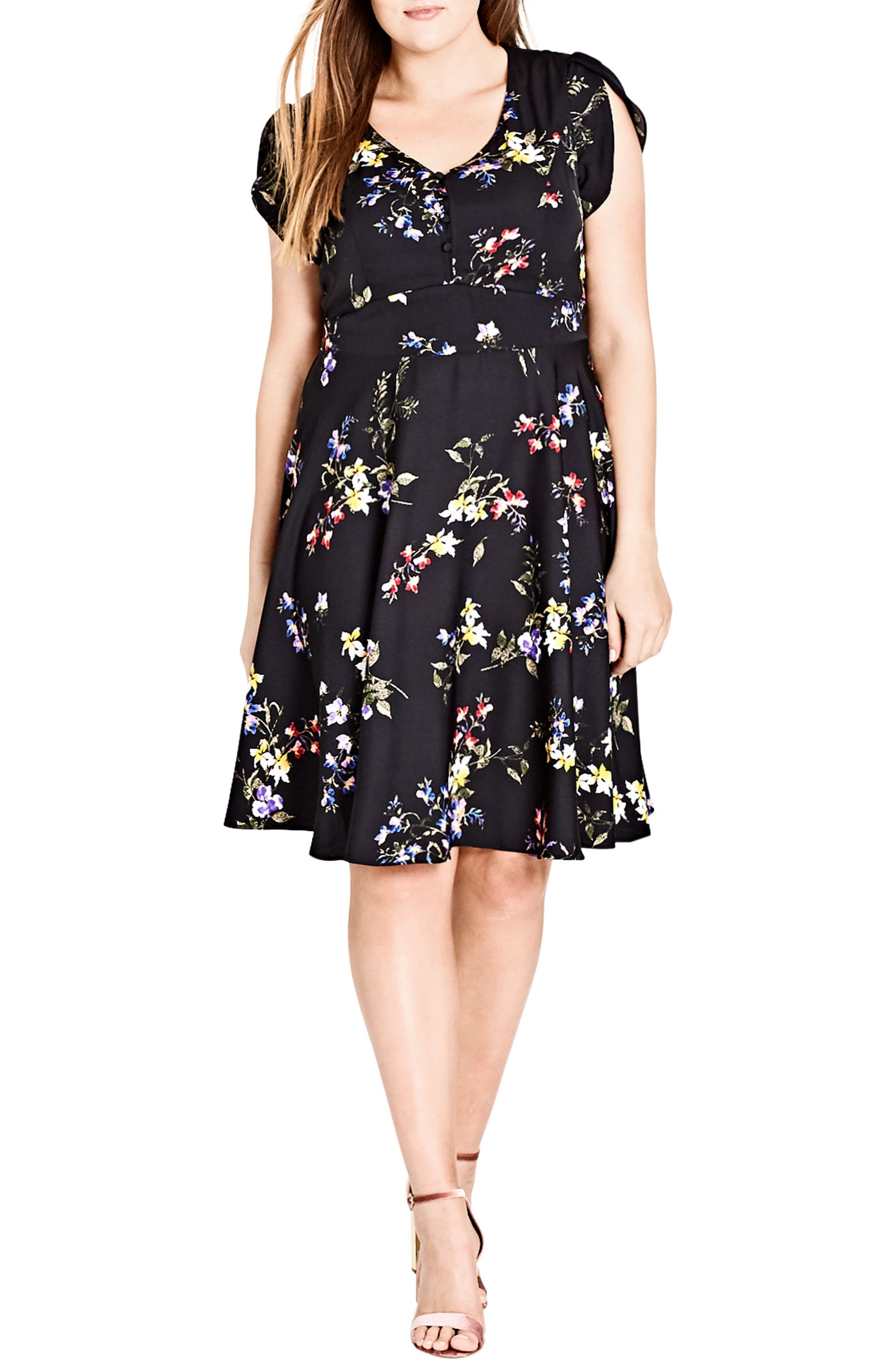 Main Image - City Chic Free Love Floral Fit & Flare Dress (Plus Size)