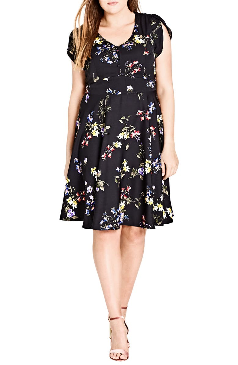 Free Love Floral Fit  Flare Dress