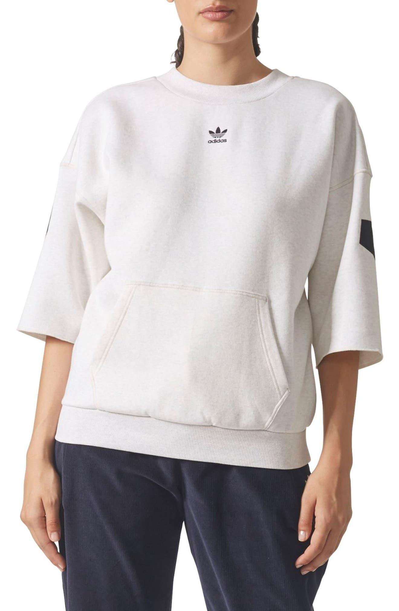 Logo Sweatshirt,                         Main,                         color, Cream Melange