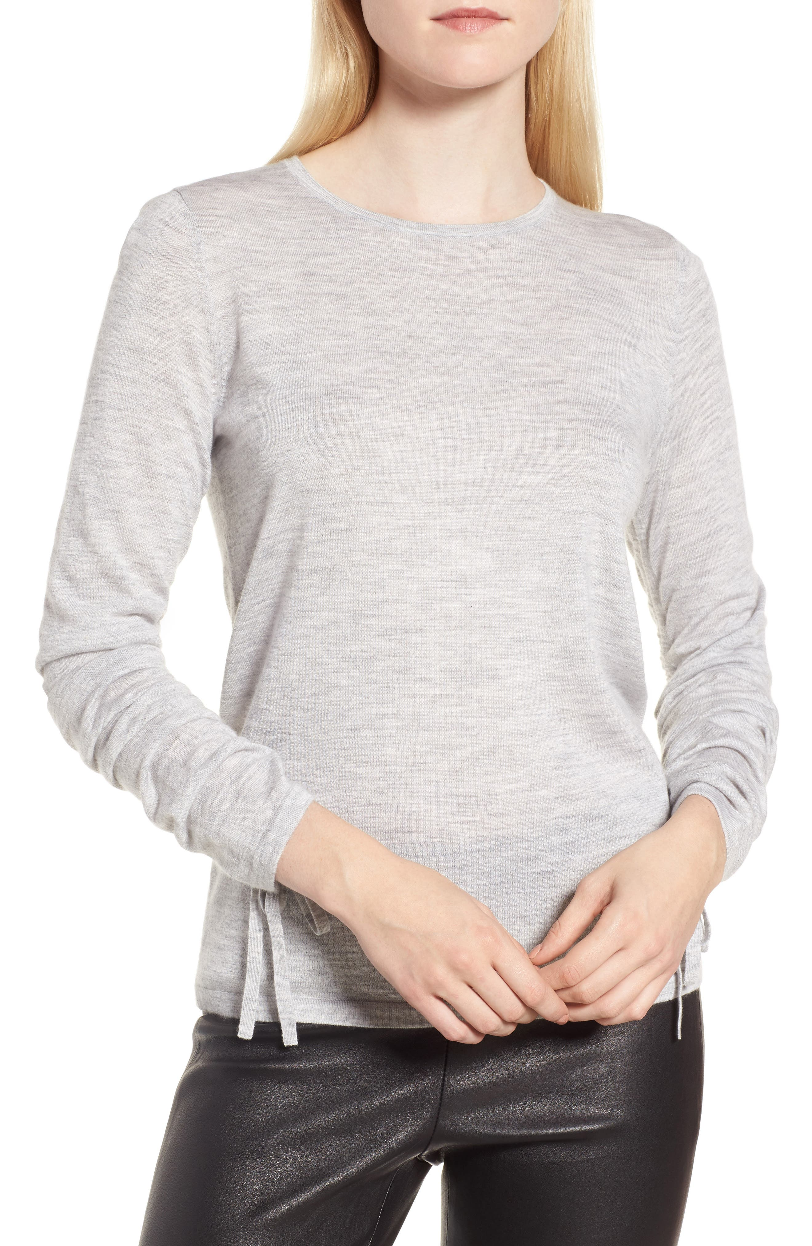 Cashmere Ruched Sleeve Pullover,                             Main thumbnail 1, color,                             Grey Clay Heather