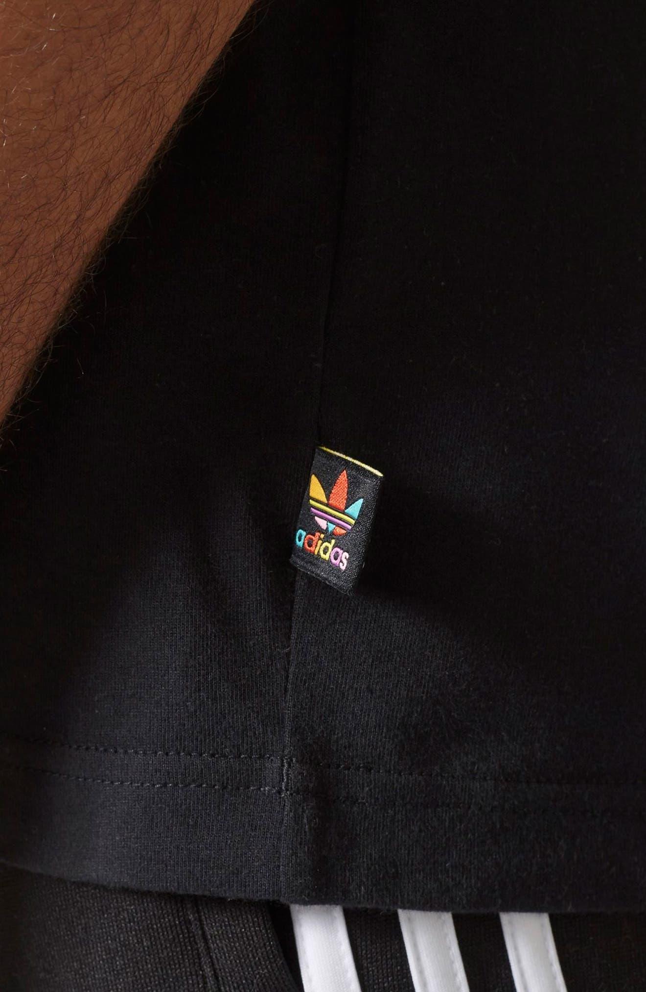 Pharrell Williams Hu Hiking T-Shirt,                             Alternate thumbnail 4, color,                             Black/ Chalk Coral