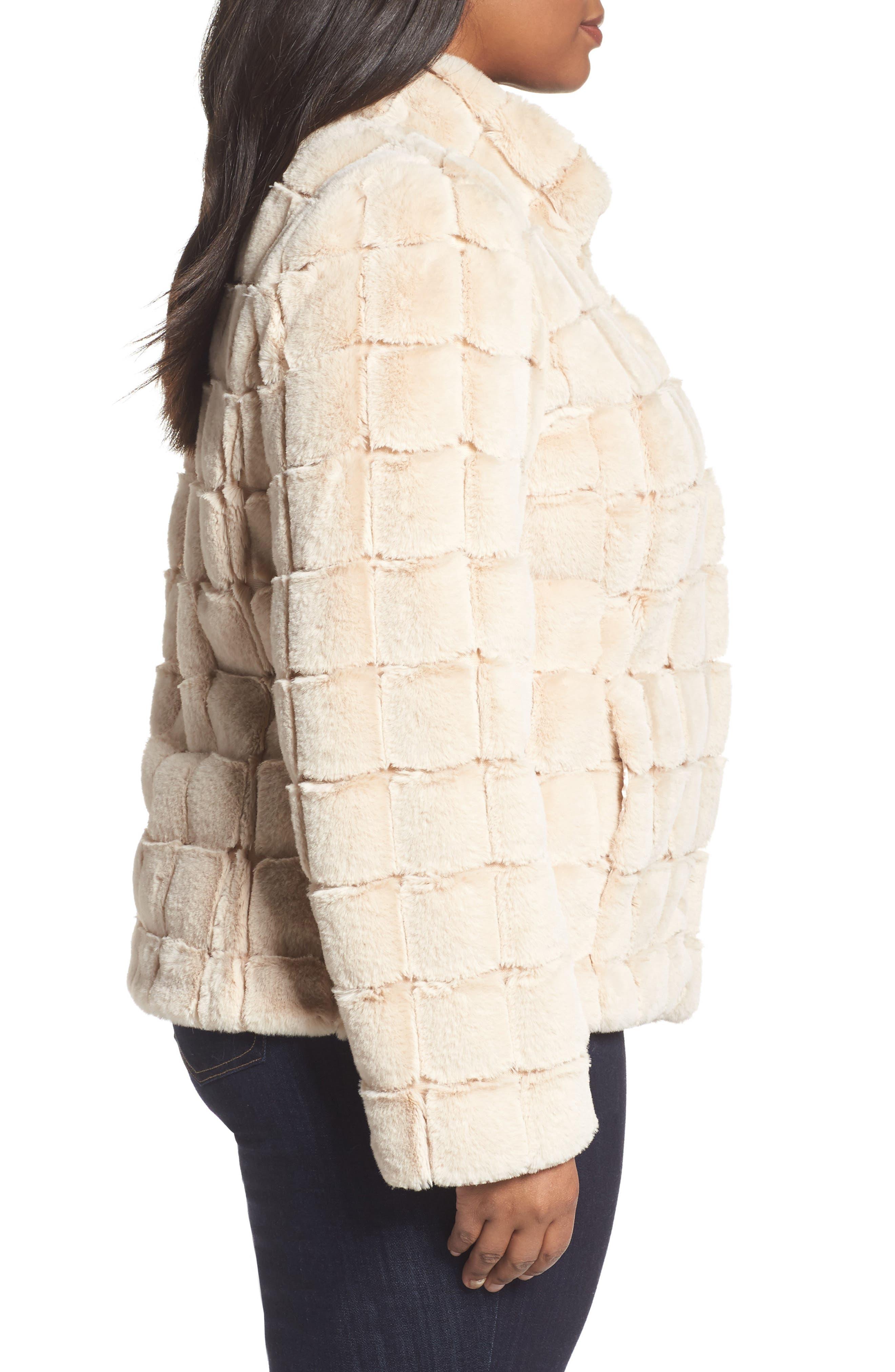 Faux Fur Jacket,                             Alternate thumbnail 3, color,                             Blush