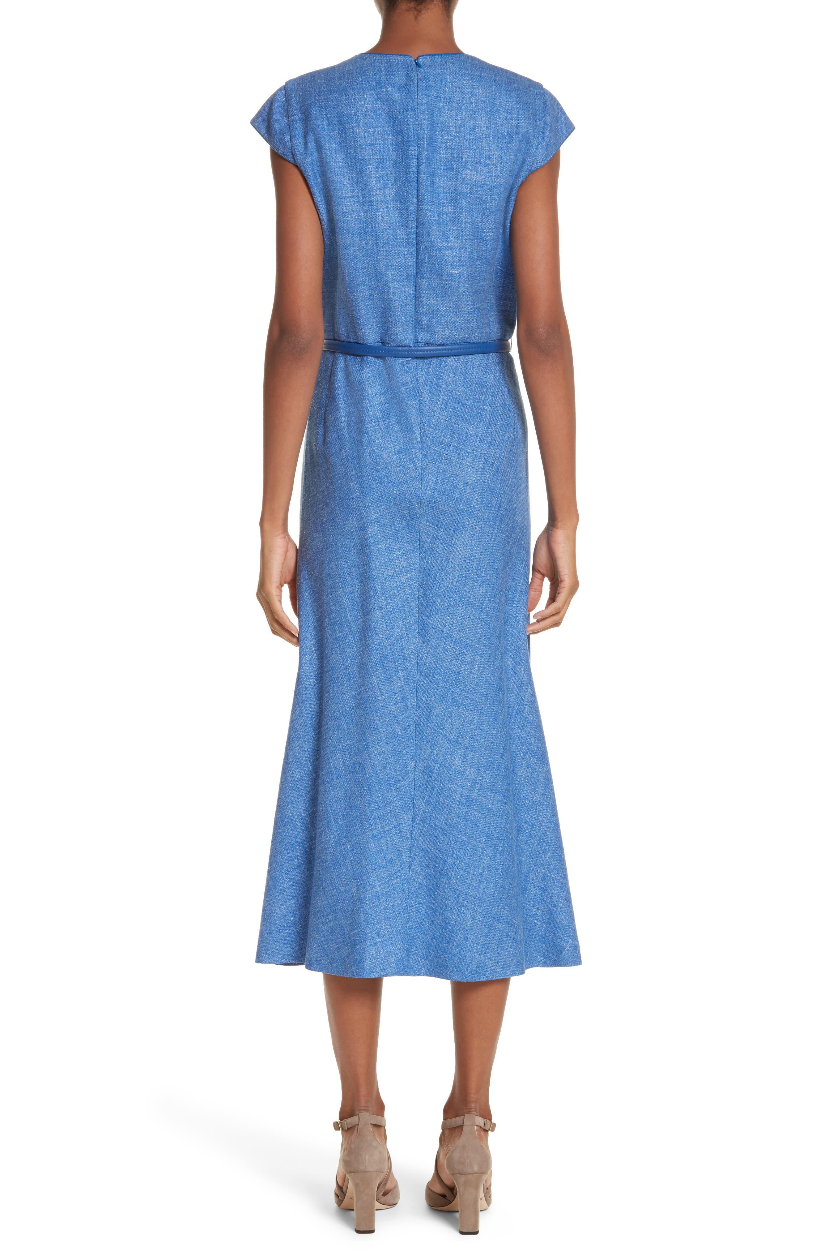 Caramba Silk, Linen & Wool Midi Dress,                             Alternate thumbnail 2, color,                             Cornflower Blue