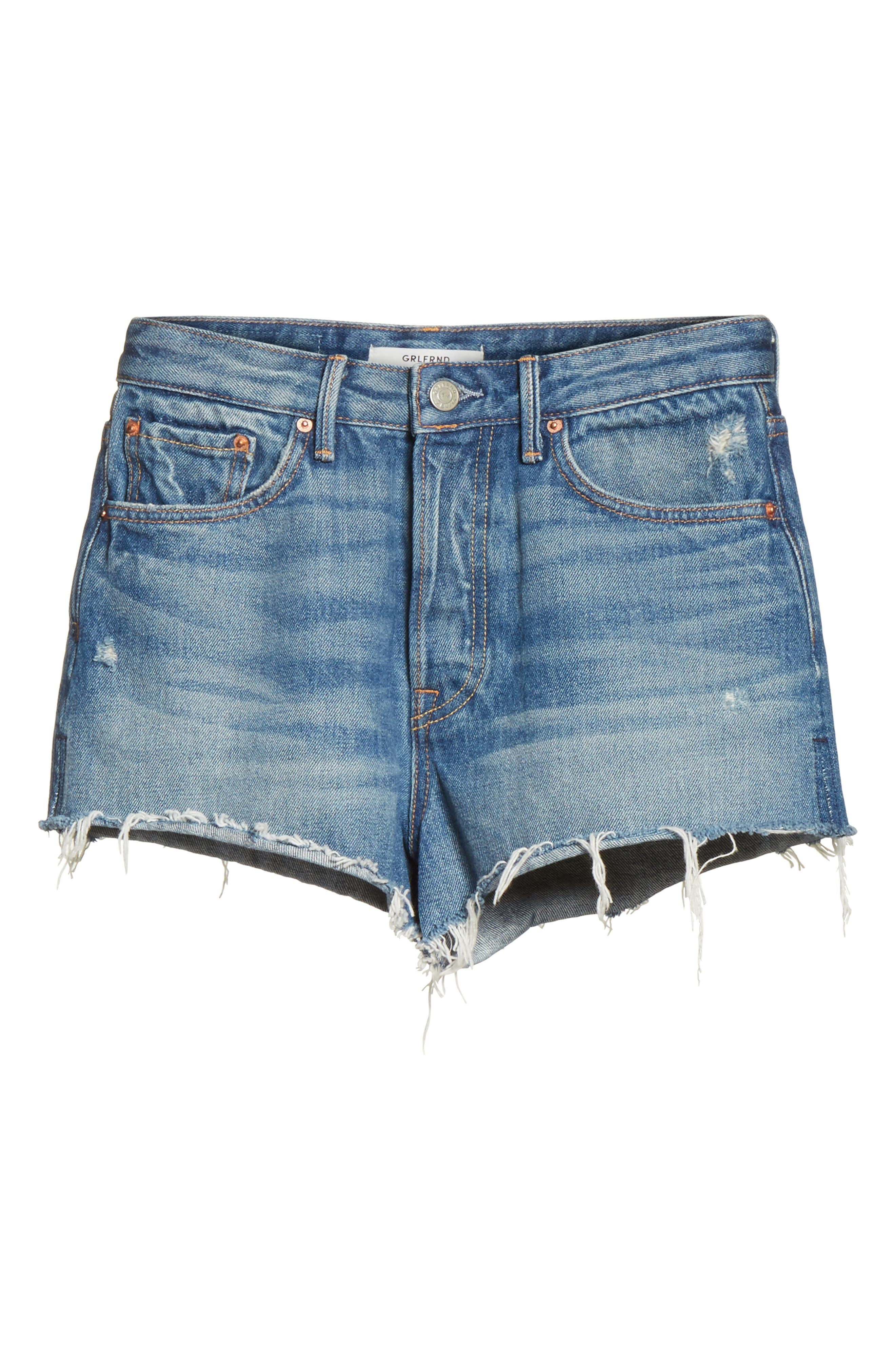 Alternate Image 6  - GRLFRND Cindy Rigid High Waist Denim Shorts (Nobody Does It Better)