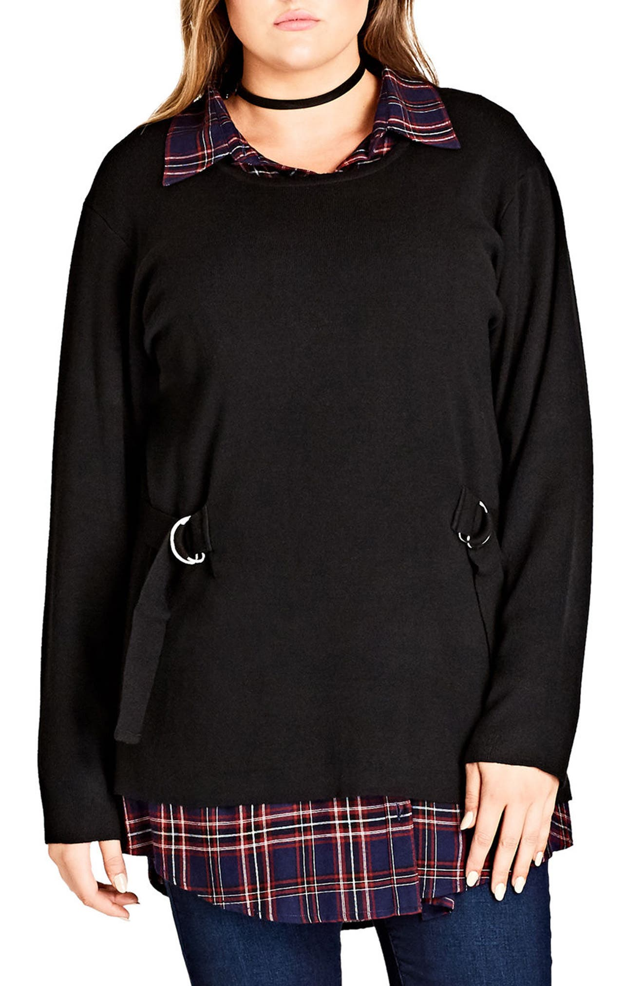 Main Image - City Chic D-Ring Sweater (Plus Size)