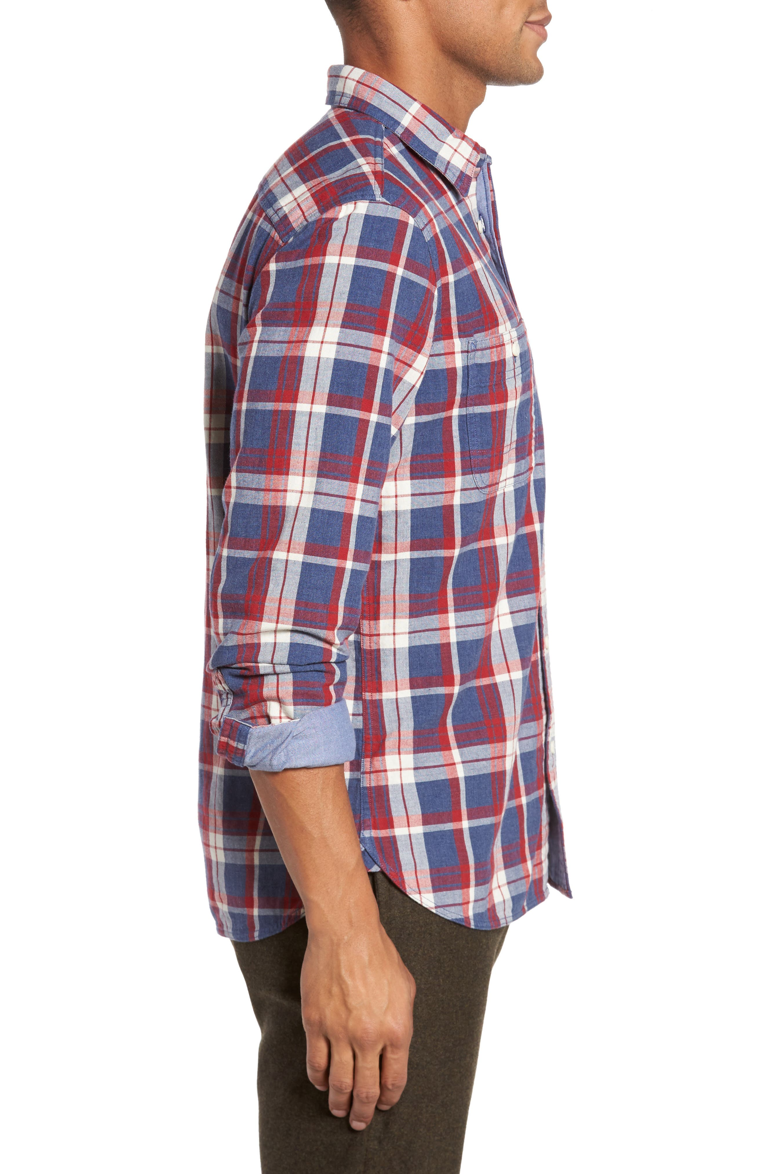 Trim Fit Workwear Duofold Plaid Sport Shirt,                             Alternate thumbnail 3, color,                             Blue Ensign Red Plaid Duofold